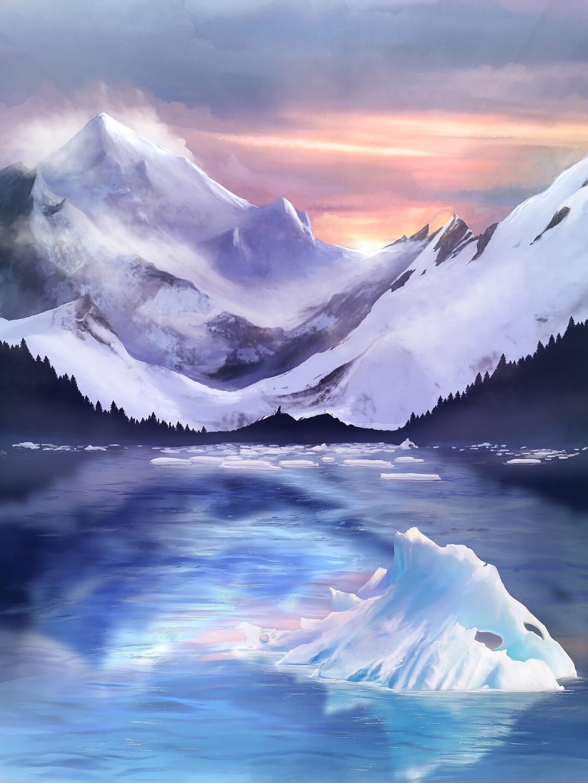 87632 скачать обои Арт, Лед, Льдины, Туман, Горы - заставки и картинки бесплатно