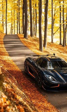 148707 скачать обои Тачки (Cars), Koenigsegg, Agera, Rs, Вид Сбоку, Осень, Деревья - заставки и картинки бесплатно
