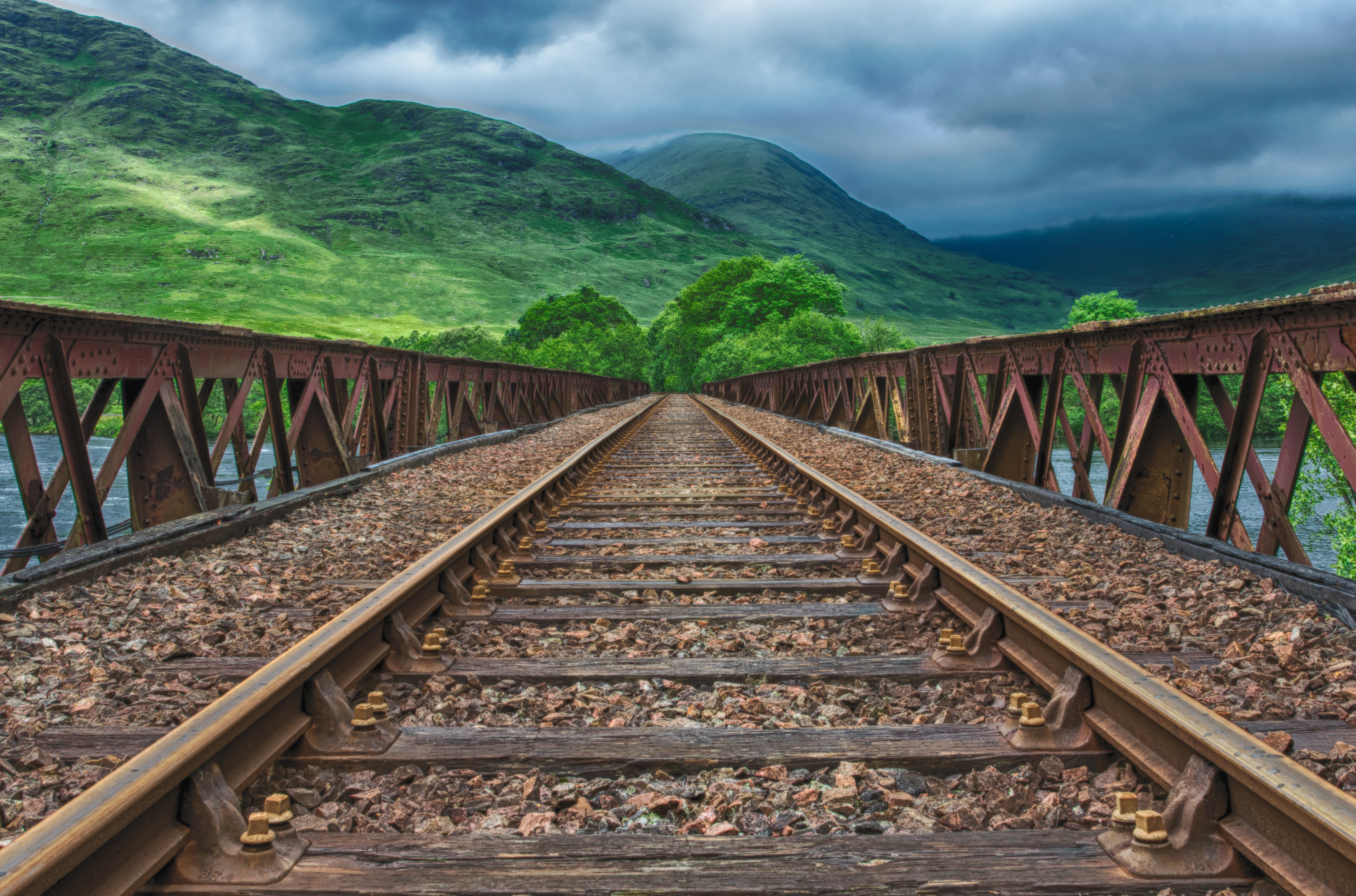 146904 Screensavers and Wallpapers Hdr for phone. Download Nature, Mountains, Railway, Hdr, Rails pictures for free