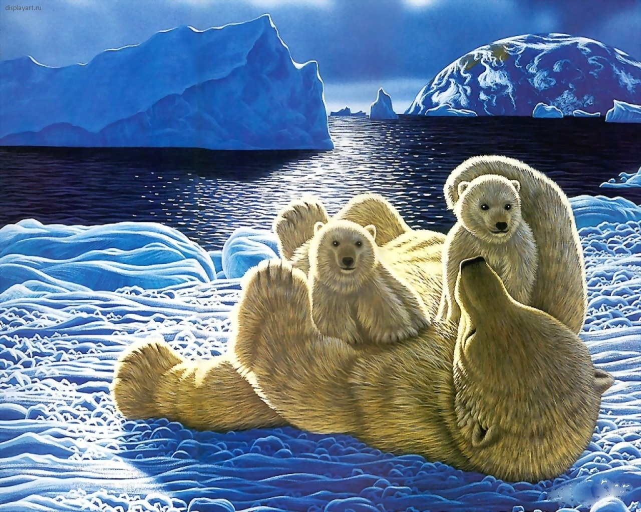 2032 download wallpaper Animals, Winter, Snow, Bears, Pictures screensavers and pictures for free