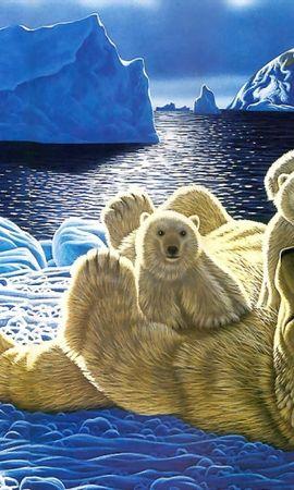 2032 скачать обои Животные, Зима, Снег, Медведи, Рисунки - заставки и картинки бесплатно