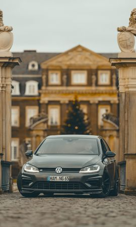 144618 Screensavers and Wallpapers Volkswagen for phone. Download Cars, Volkswagen, Car, Grey, Columns, Column, Palace pictures for free