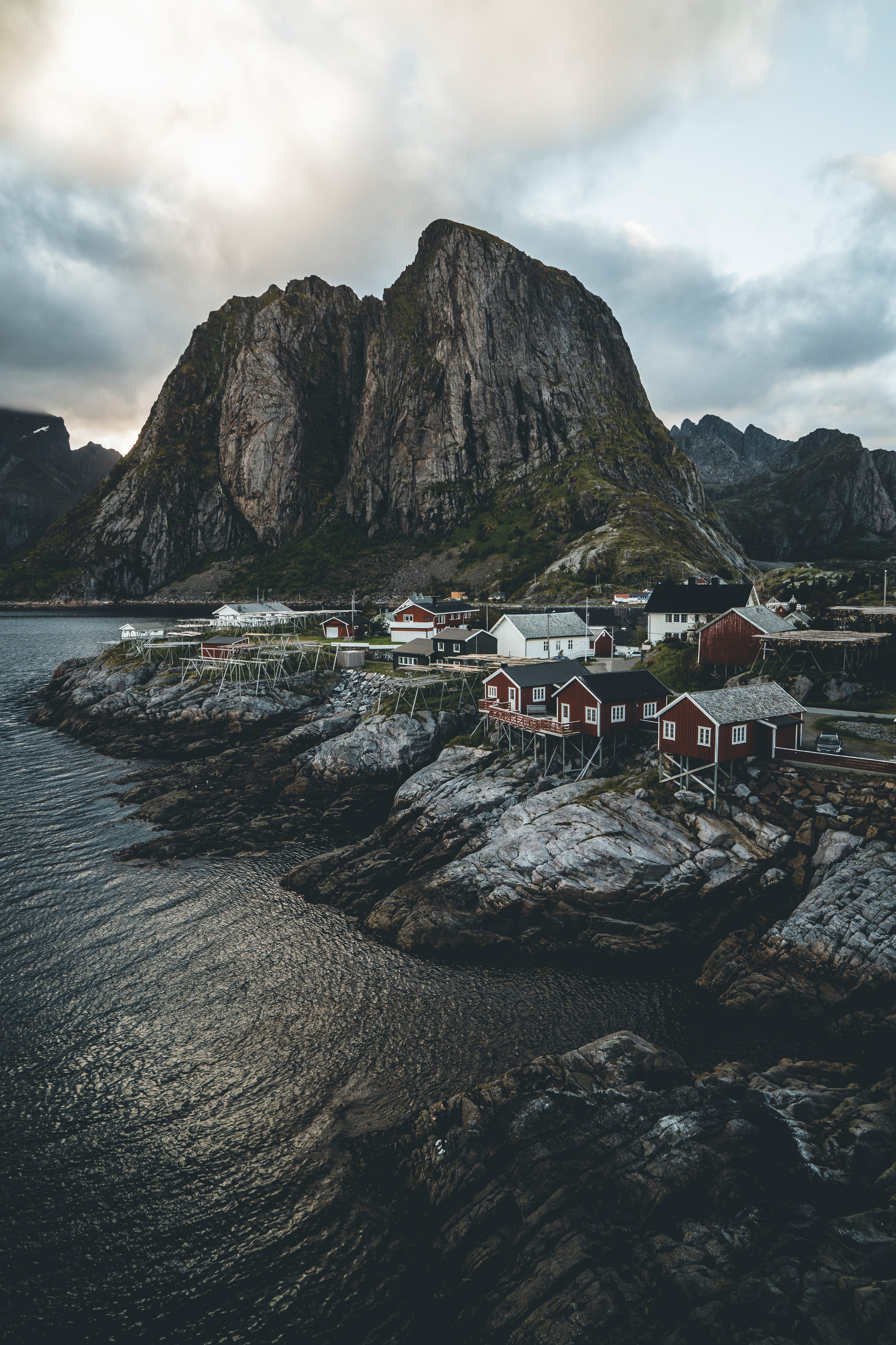 53129 Screensavers and Wallpapers Houses for phone. Download Nature, Island, Rocks, Houses, Coast, Village, Norway pictures for free