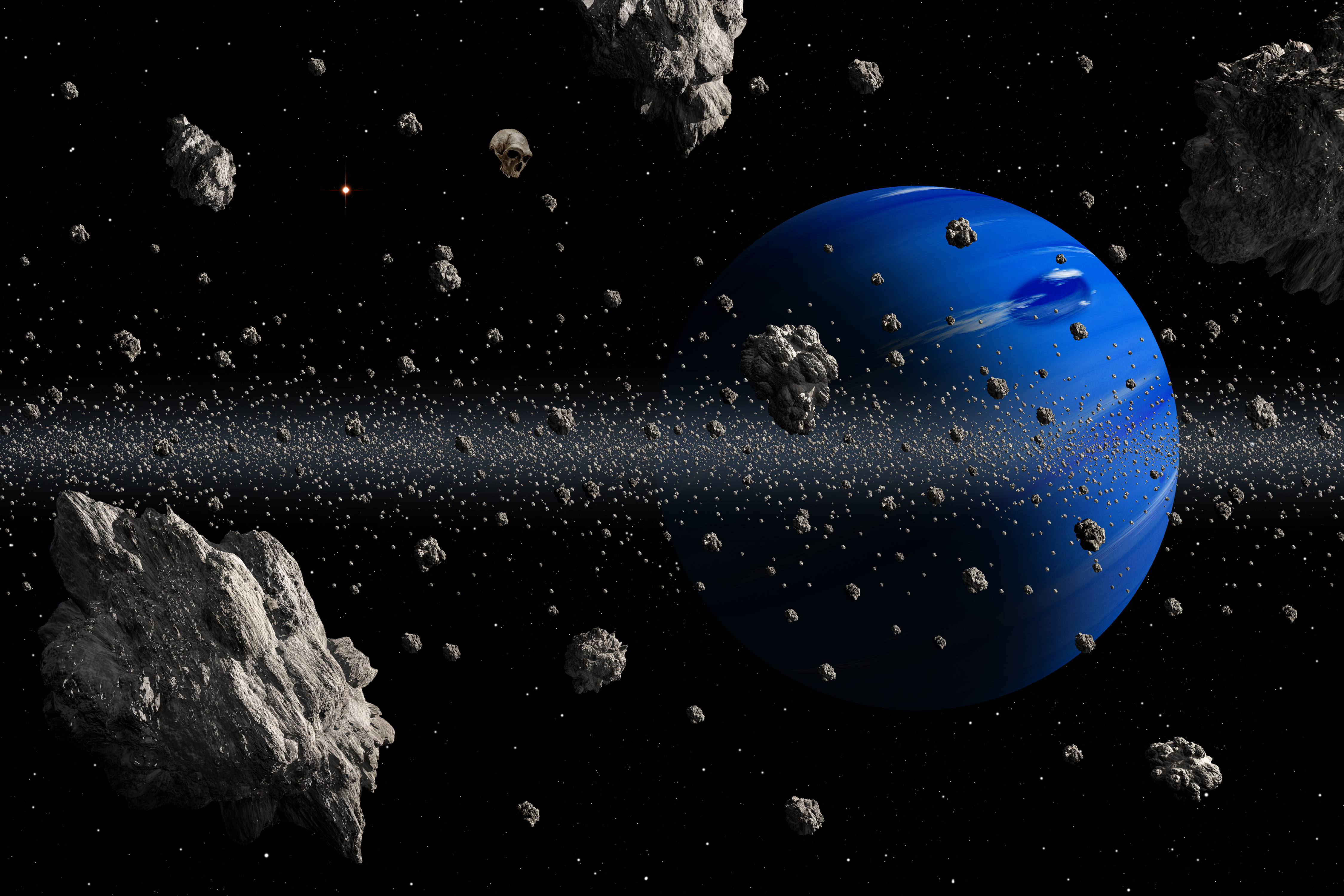 56133 free download Blue wallpapers for phone, Planet, Asteroids, Universe, Asteroid Belt Blue images and screensavers for mobile