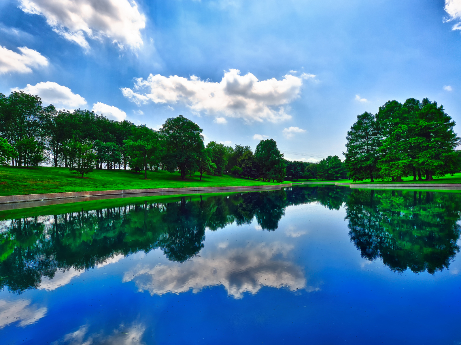 20712 download wallpaper Landscape, Rivers, Trees, Sky, Clouds screensavers and pictures for free