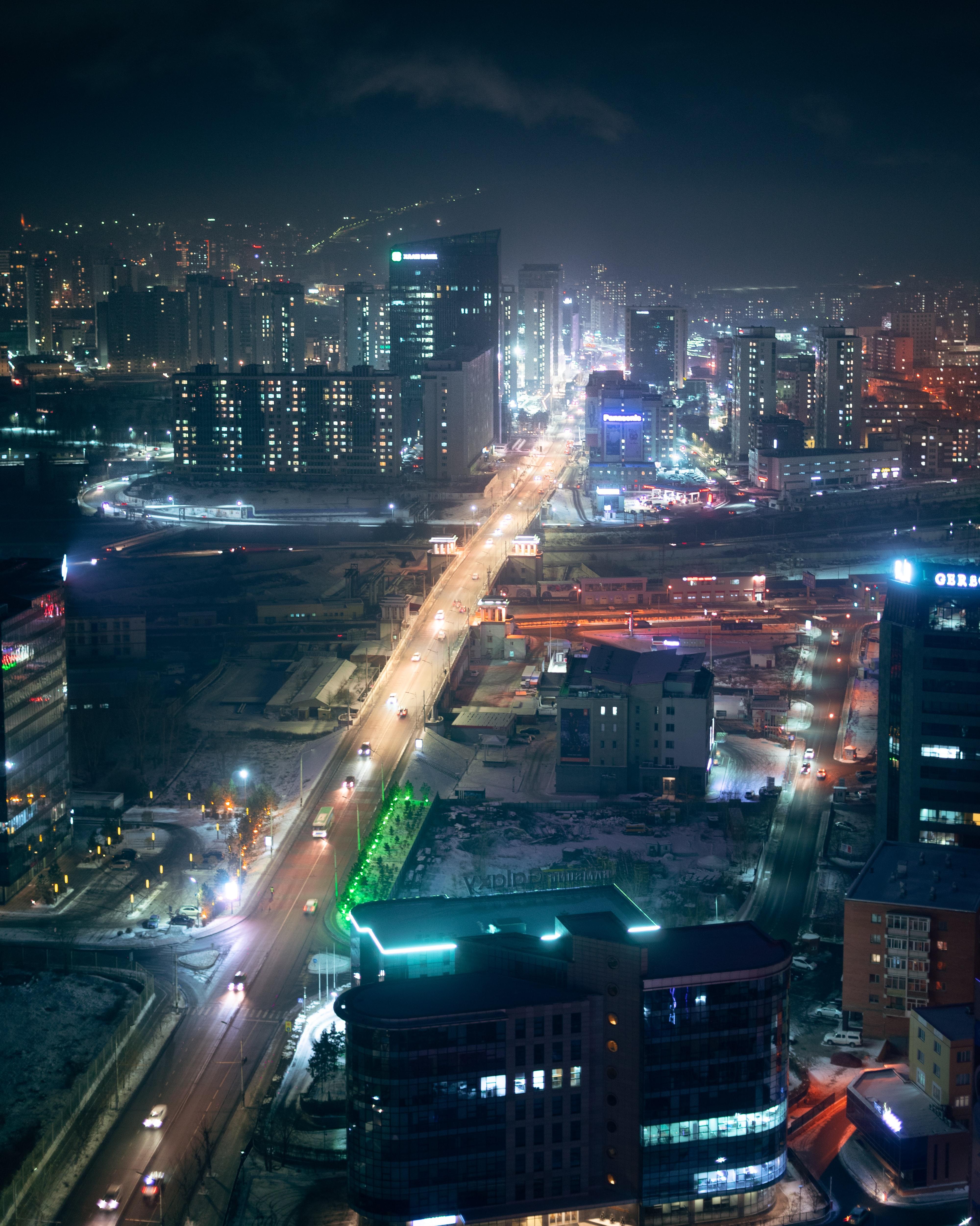139255 Hintergrundbild herunterladen Städte, Roads, Streets, Gebäude, Die Lichter, Lichter, Blick Von Oben, Nächtliche Stadt, Night City - Bildschirmschoner und Bilder kostenlos