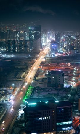 139255 Screensavers and Wallpapers Roads for phone. Download Night City, View From Above, Building, Roads, Lights, Cities, Streets pictures for free