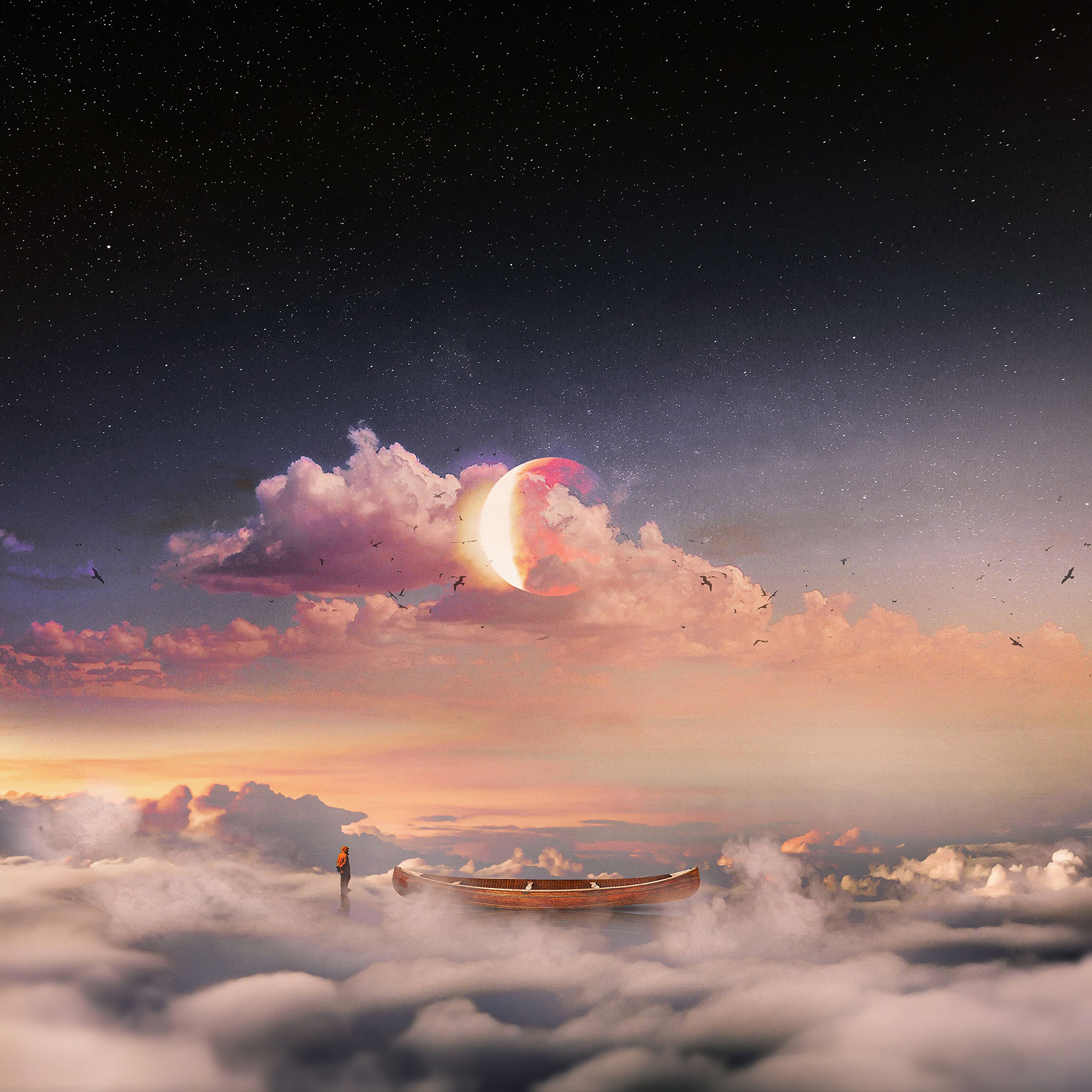 77352 download wallpaper Art, Surrealism, Boat, Clouds, Alone, Lonely, Human, Person, Starry Sky screensavers and pictures for free