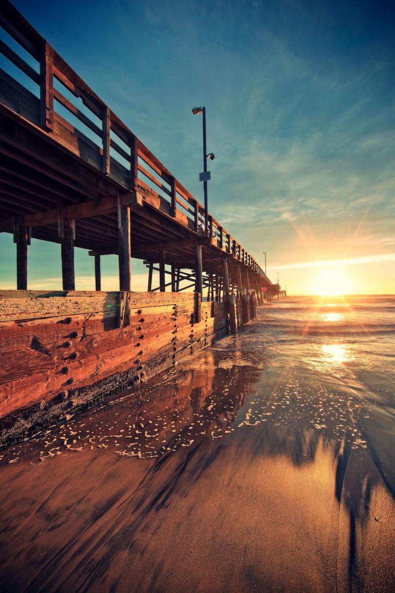 11377 скачать обои Пейзаж, Мосты, Закат, Море, Солнце - заставки и картинки бесплатно