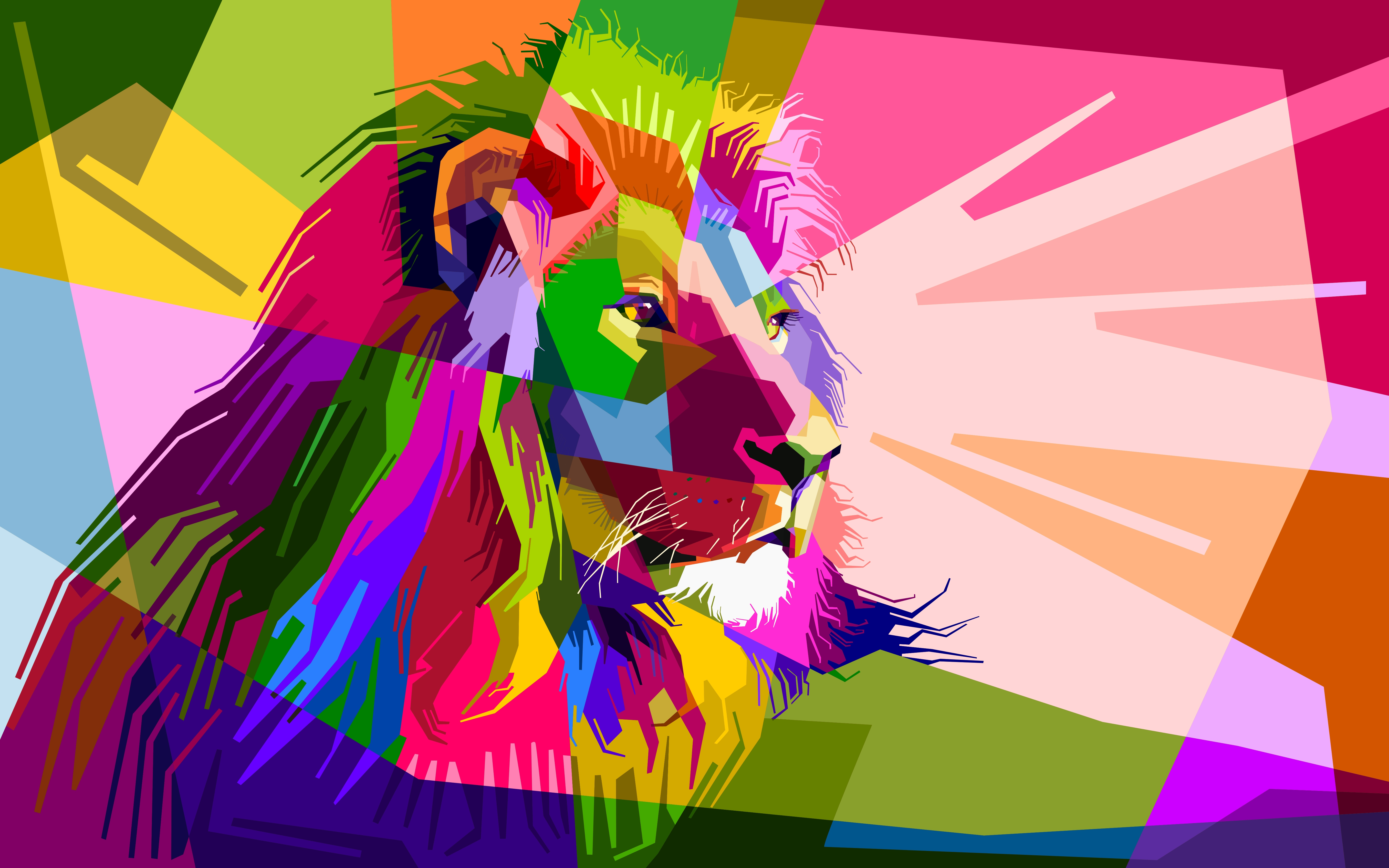 138116 download wallpaper Vector, Art, Muzzle, Lion, Colorful, Colourful screensavers and pictures for free