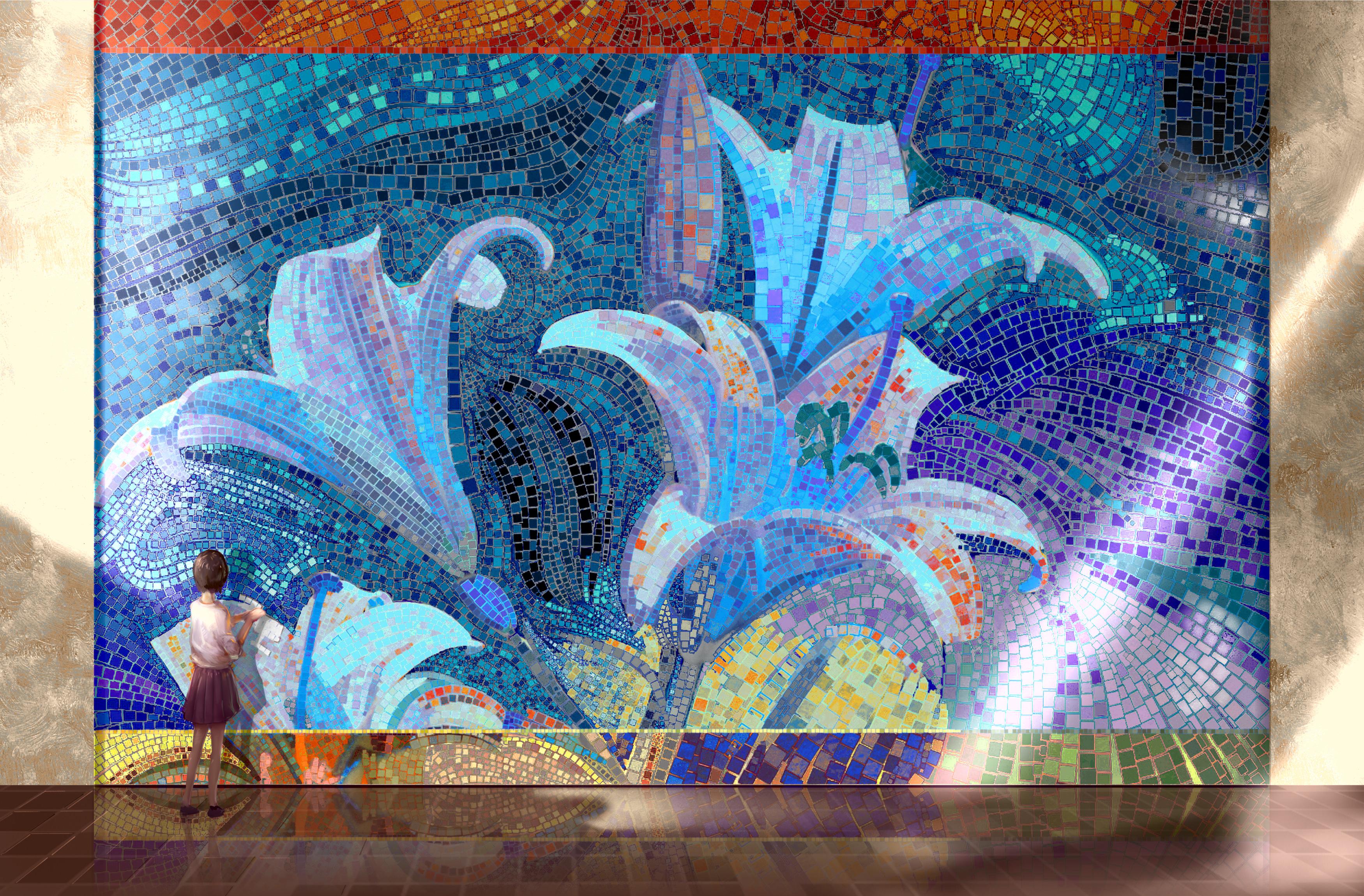 80275 скачать обои Мозаика, Картина, Девочка, Арт - заставки и картинки бесплатно