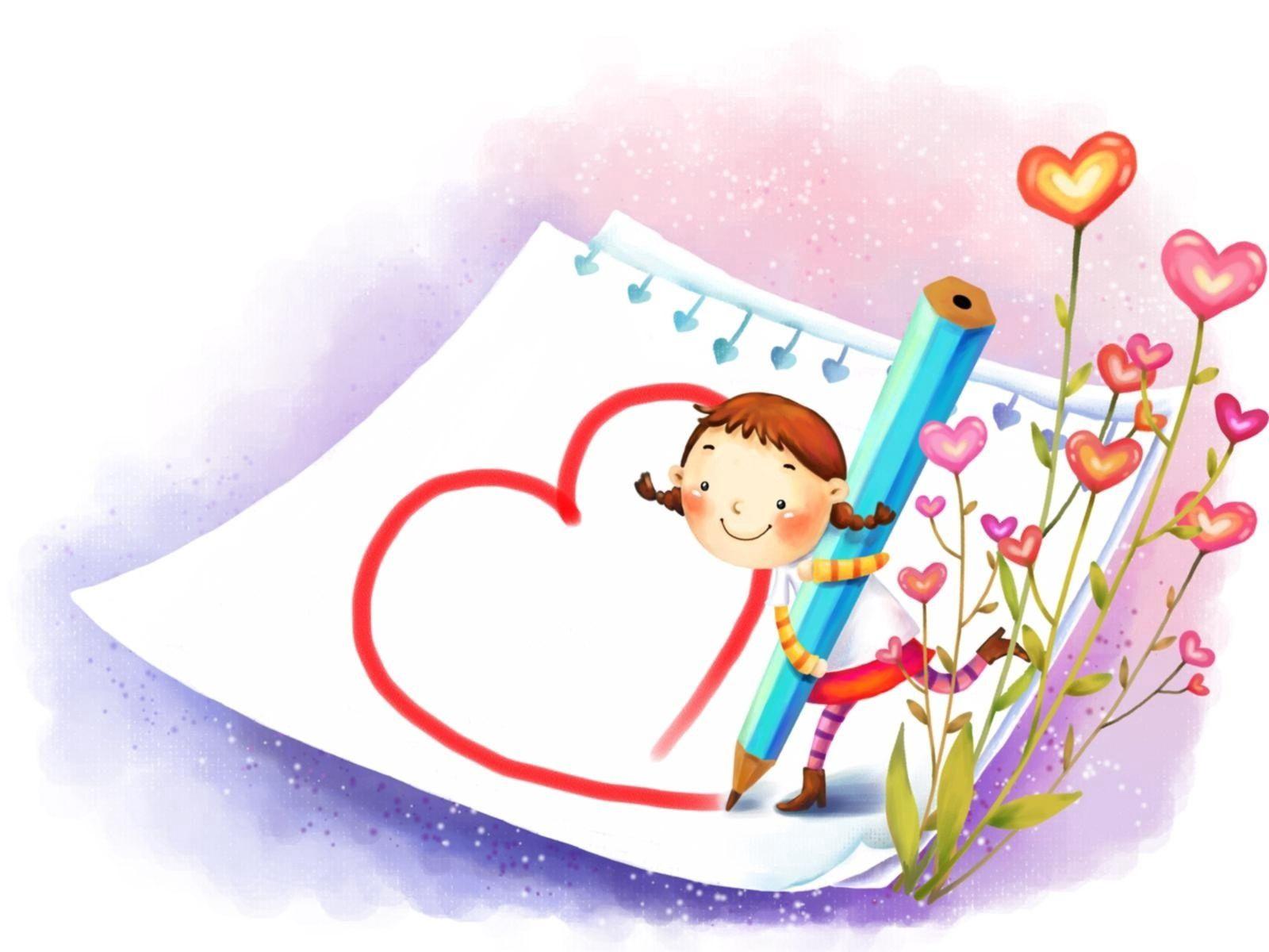 61774 скачать обои Любовь, Девочка, Ребенок, Рисунок - заставки и картинки бесплатно