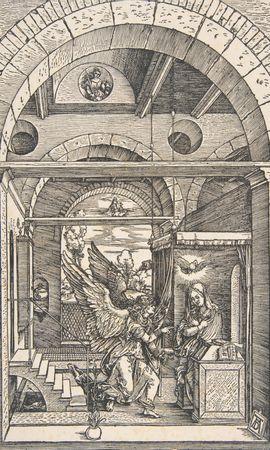 153077 скачать обои Арт, Альбрехт Дюрер, Благовещение, Из Жития Богородицы, Дева Мария, Архангелы, Гравюра, Ангелы - заставки и картинки бесплатно