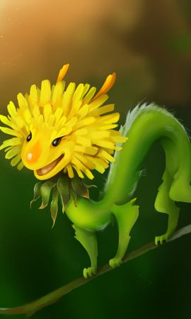 78969 download wallpaper Art, Flower, Spider, Smile, Dandelion, Funny screensavers and pictures for free