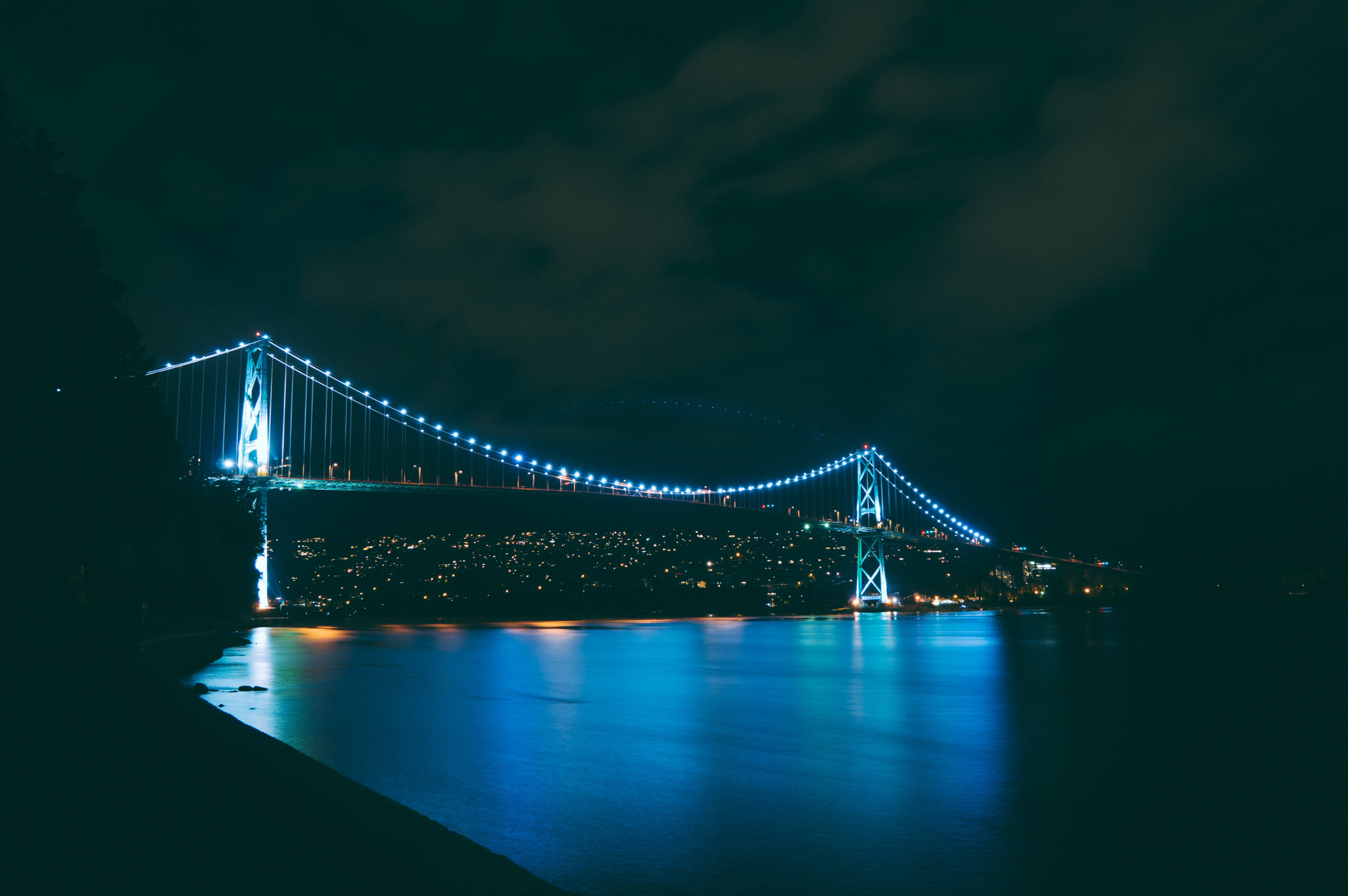 141240 Screensavers and Wallpapers Night City for phone. Download Night City, Cities, Rivers, Bridge pictures for free