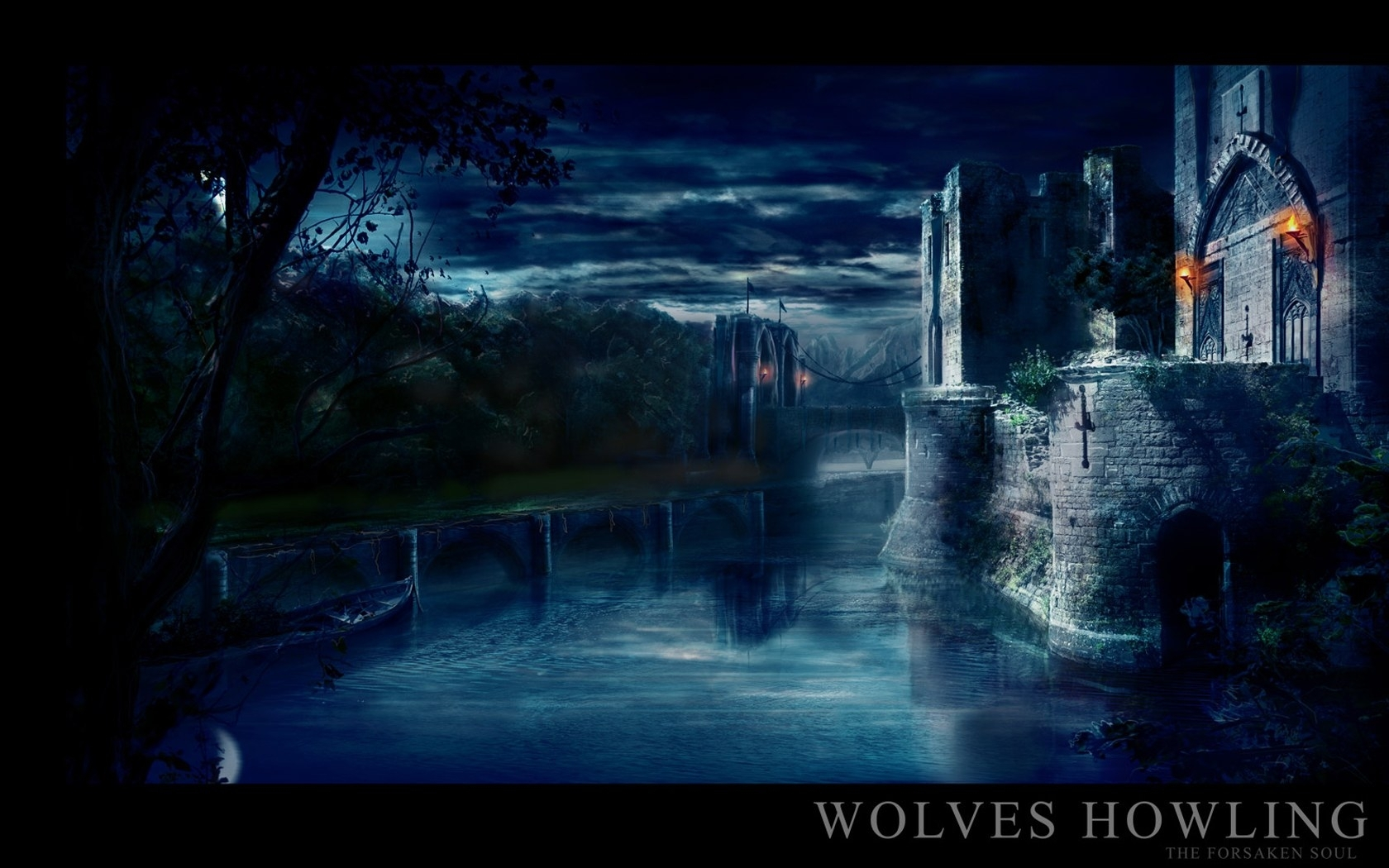 1276 download wallpaper Rivers, Art, Night, Architecture, Castles screensavers and pictures for free