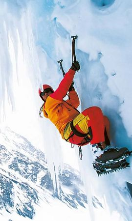 13860 скачать обои Спорт, Люди, Зима, Снег, Скалолазы, Альпинисты - заставки и картинки бесплатно