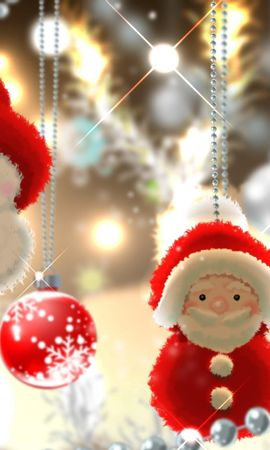 97210 скачать обои Праздники, Санта Клаус, Снеговик, Шары, Елочные Игрушки, Нити - заставки и картинки бесплатно