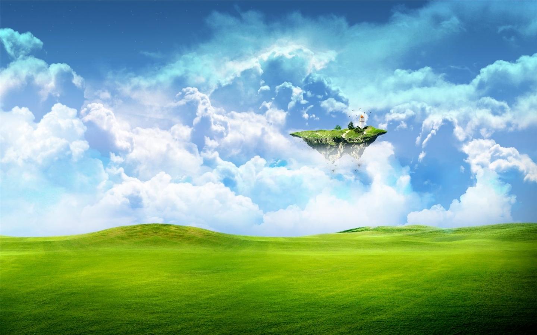 26545 скачать обои Пейзаж, Фэнтези, Поля, Небо, Облака - заставки и картинки бесплатно