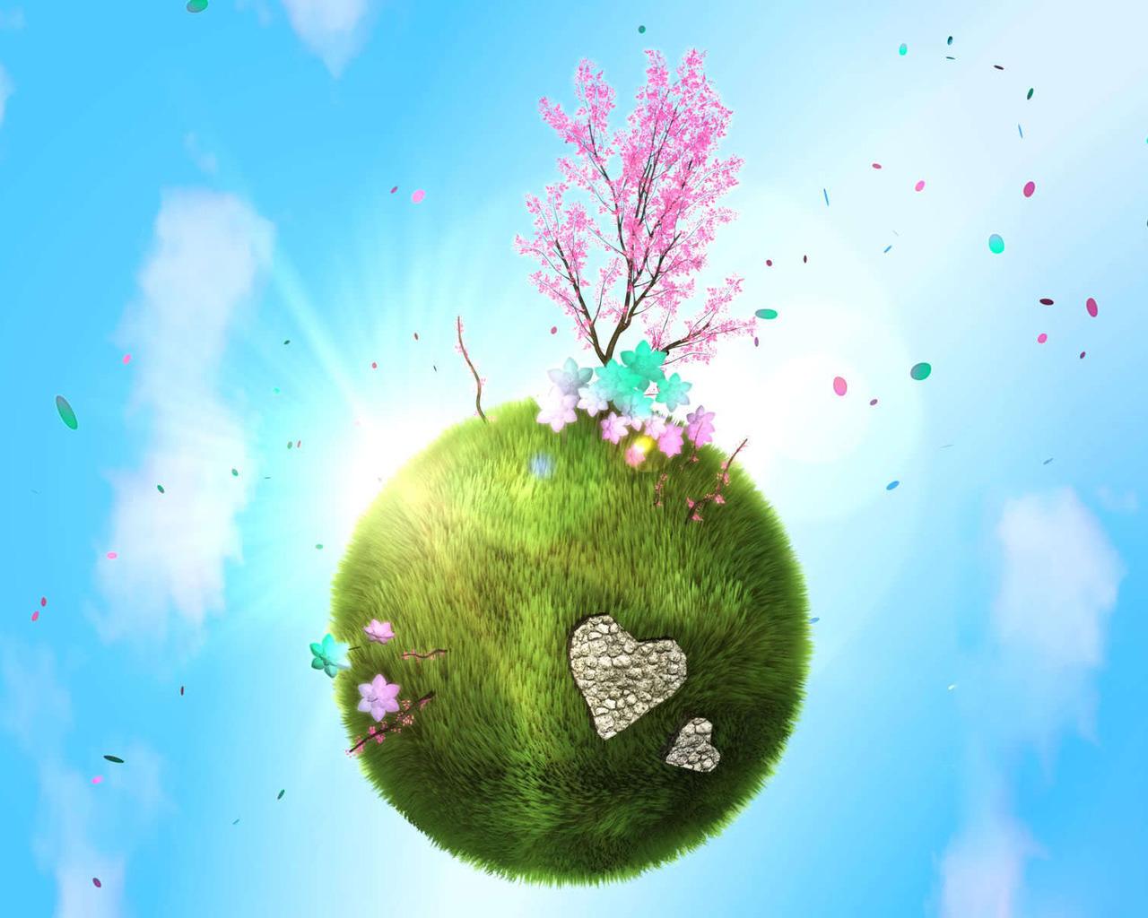21591 скачать обои Деревья, Трава, Небо, Рисунки - заставки и картинки бесплатно