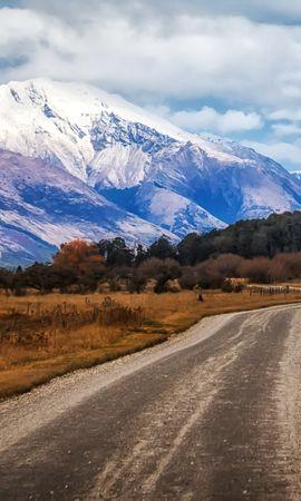 125353 Заставки и Обои Поля на телефон. Скачать Природа, Новая Зеландия, Гленорчи, Поля, Дорога, Горы картинки бесплатно