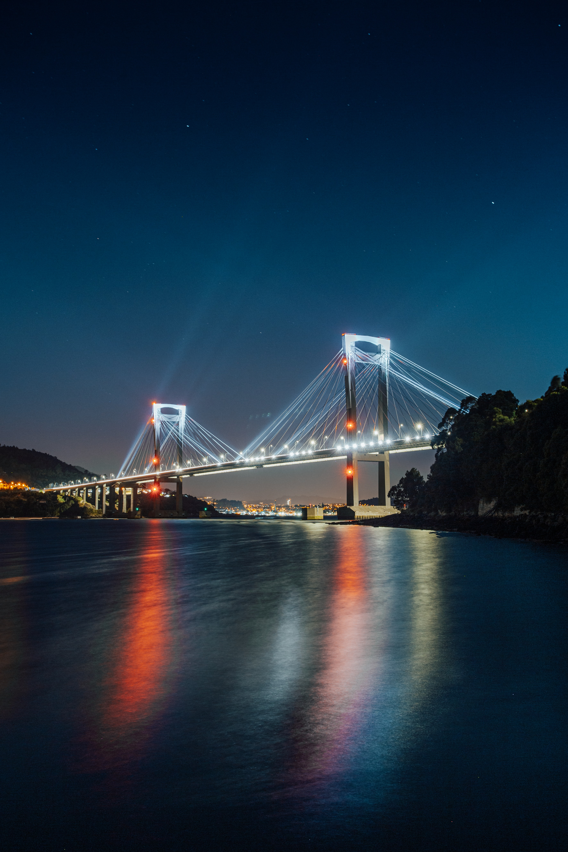 157164 скачать обои Темные, Мост, Подсветка, Огни, Ночь, Река - заставки и картинки бесплатно