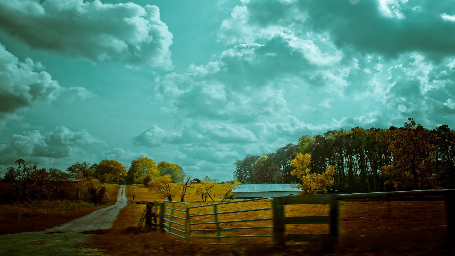 56773 Screensavers and Wallpapers Colors for phone. Download Nature, Sky, Autumn, Road, Colors, Color, Fence, Mainly Cloudy, Overcast, Paints pictures for free
