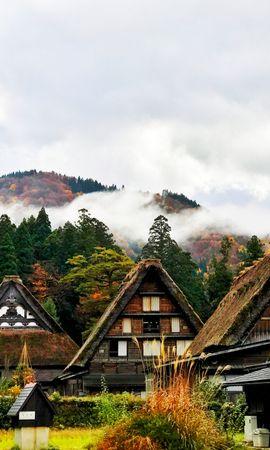 156032 télécharger le fond d'écran Japon, Shirakawa, Maisons, Arbres, Montagnes, Villes - économiseurs d'écran et images gratuitement