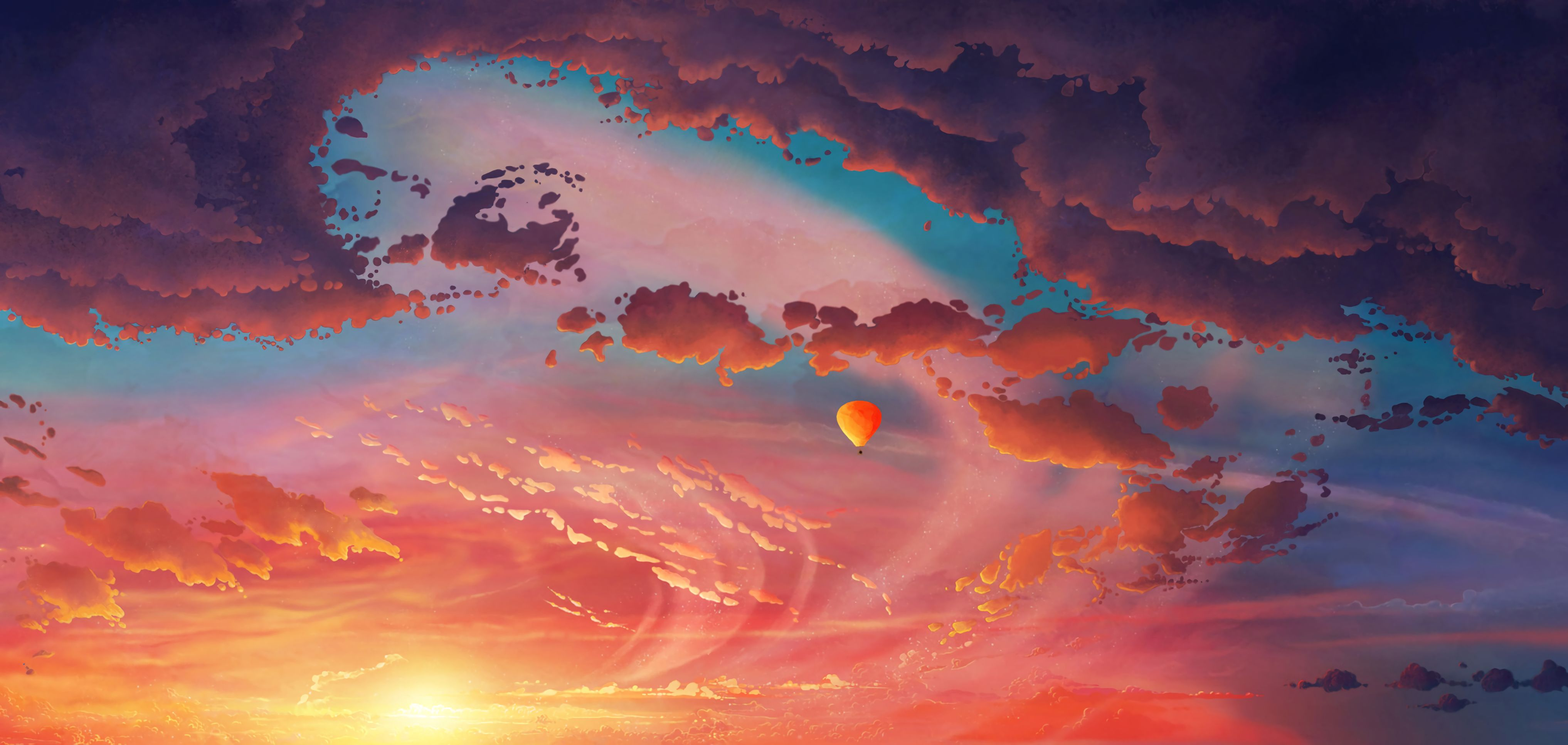 108377壁紙のダウンロードバルーン, 気球, アート, 雲, スカイ, フライト, 逃走-スクリーンセーバーと写真を無料で