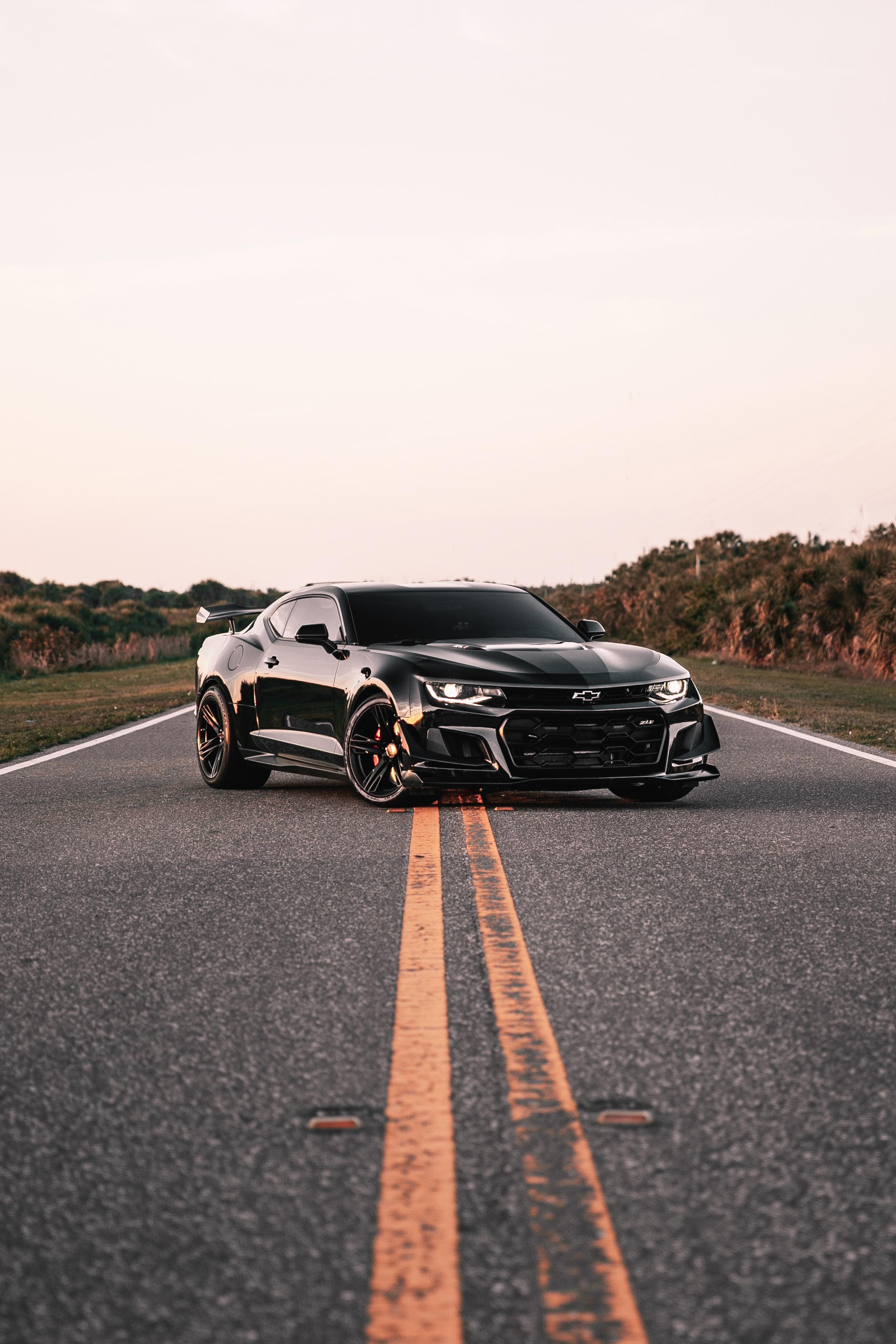 113202 Hintergrundbild herunterladen Auto, Chevrolet, Cars, Markup, Asphalt, Das Schwarze, Maschine, Chevrolet Camaro - Bildschirmschoner und Bilder kostenlos