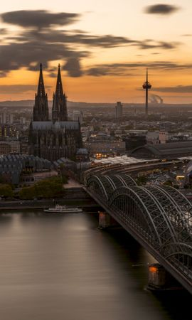 88370 Screensavers and Wallpapers Architecture for phone. Download Bridge, Gothic, Koln, Cologne, Germany, Architecture, Cities pictures for free