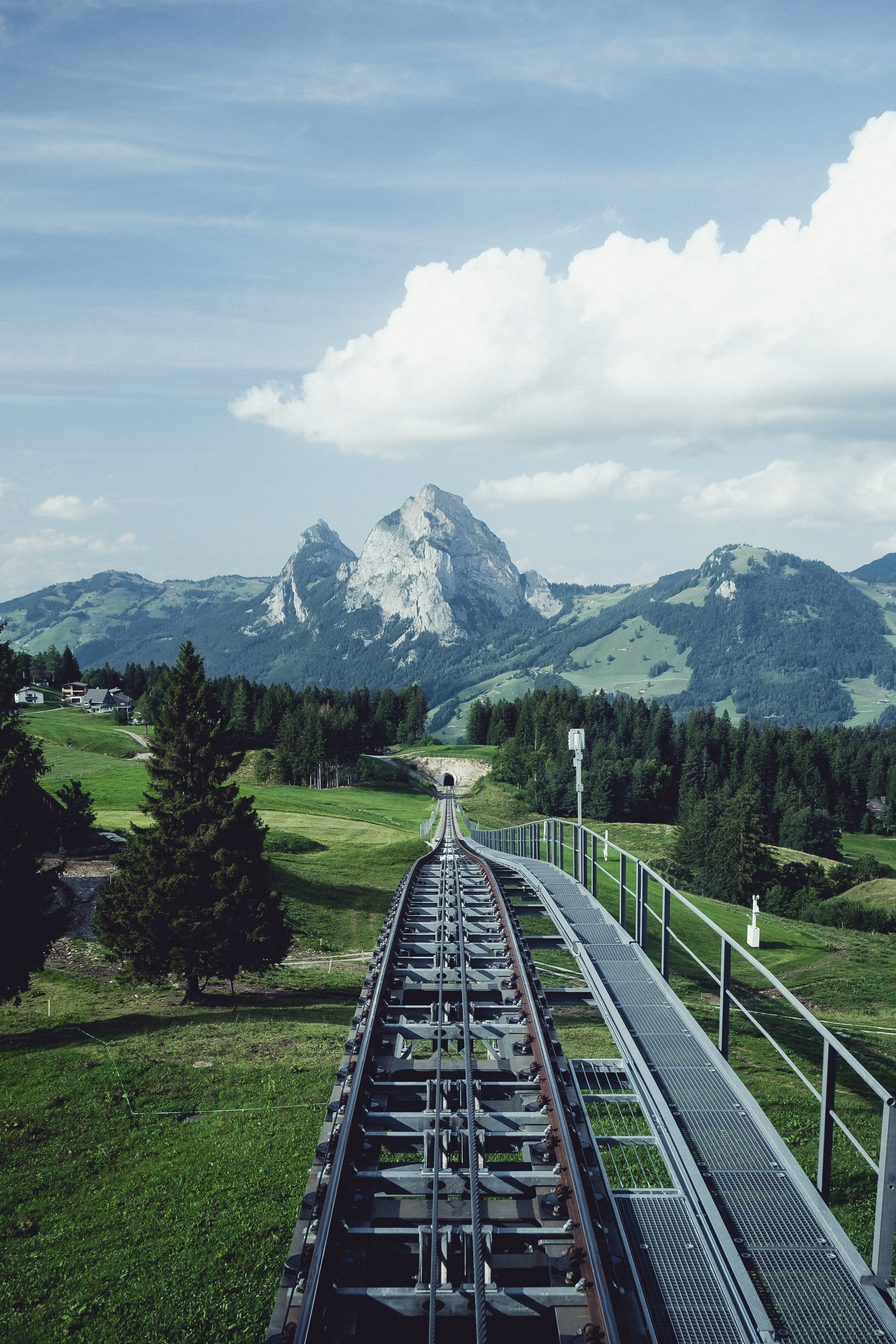 57086 download wallpaper Railway, Rails, Nature, Mountains, Landscape screensavers and pictures for free