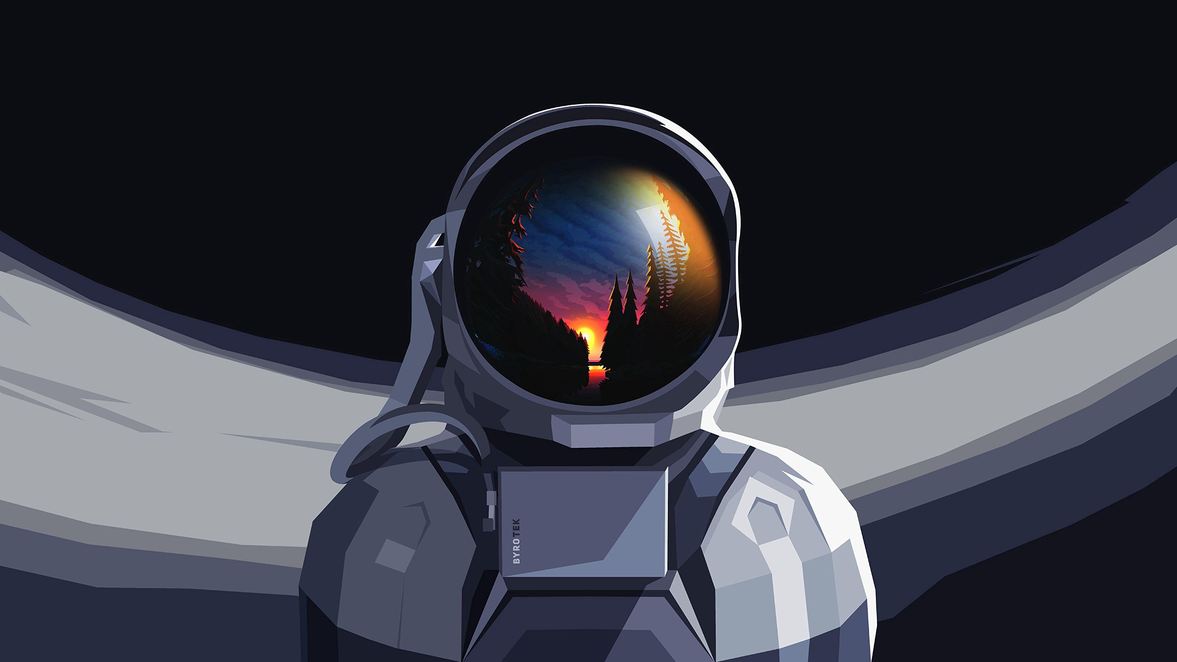 98562壁紙のダウンロードベクター, ベクトル, 宇宙飛行士, 宇宙服, 反射, 日没, アート-スクリーンセーバーと写真を無料で