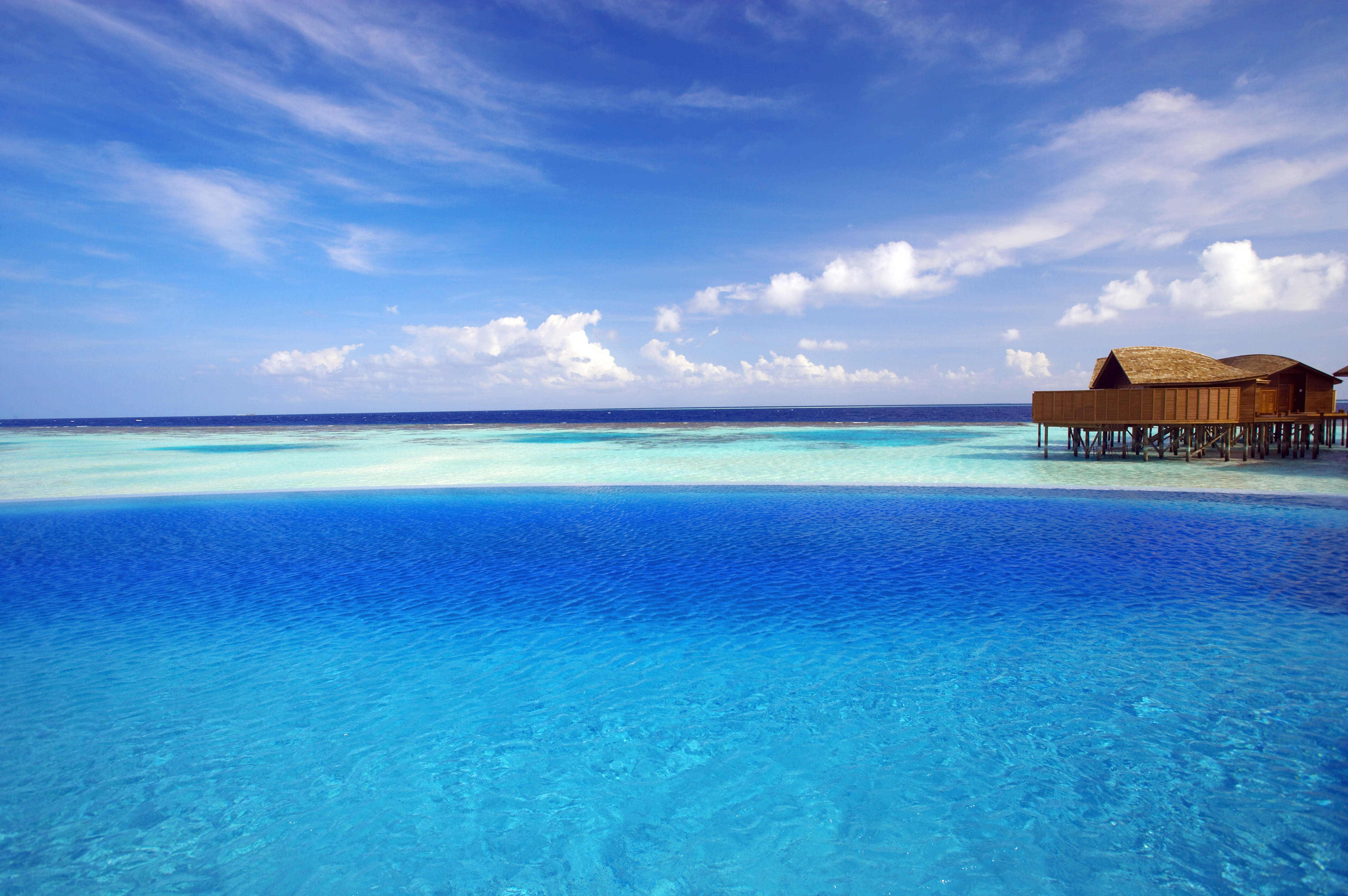 116896 Screensavers and Wallpapers Ocean for phone. Download Nature, Ocean, Tropics, Maldives, Bungalow pictures for free