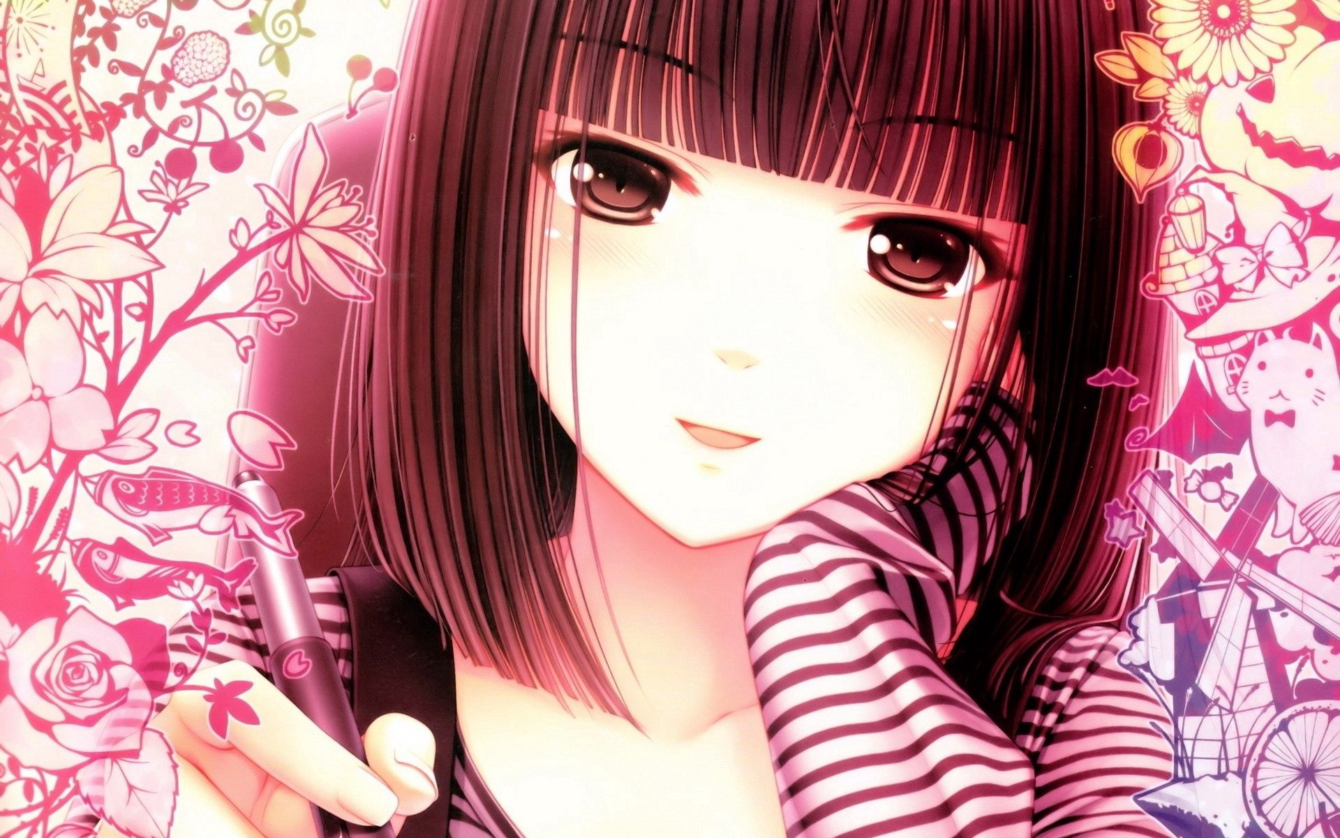 74958 download wallpaper Anime, Girl, Face, Pen screensavers and pictures for free