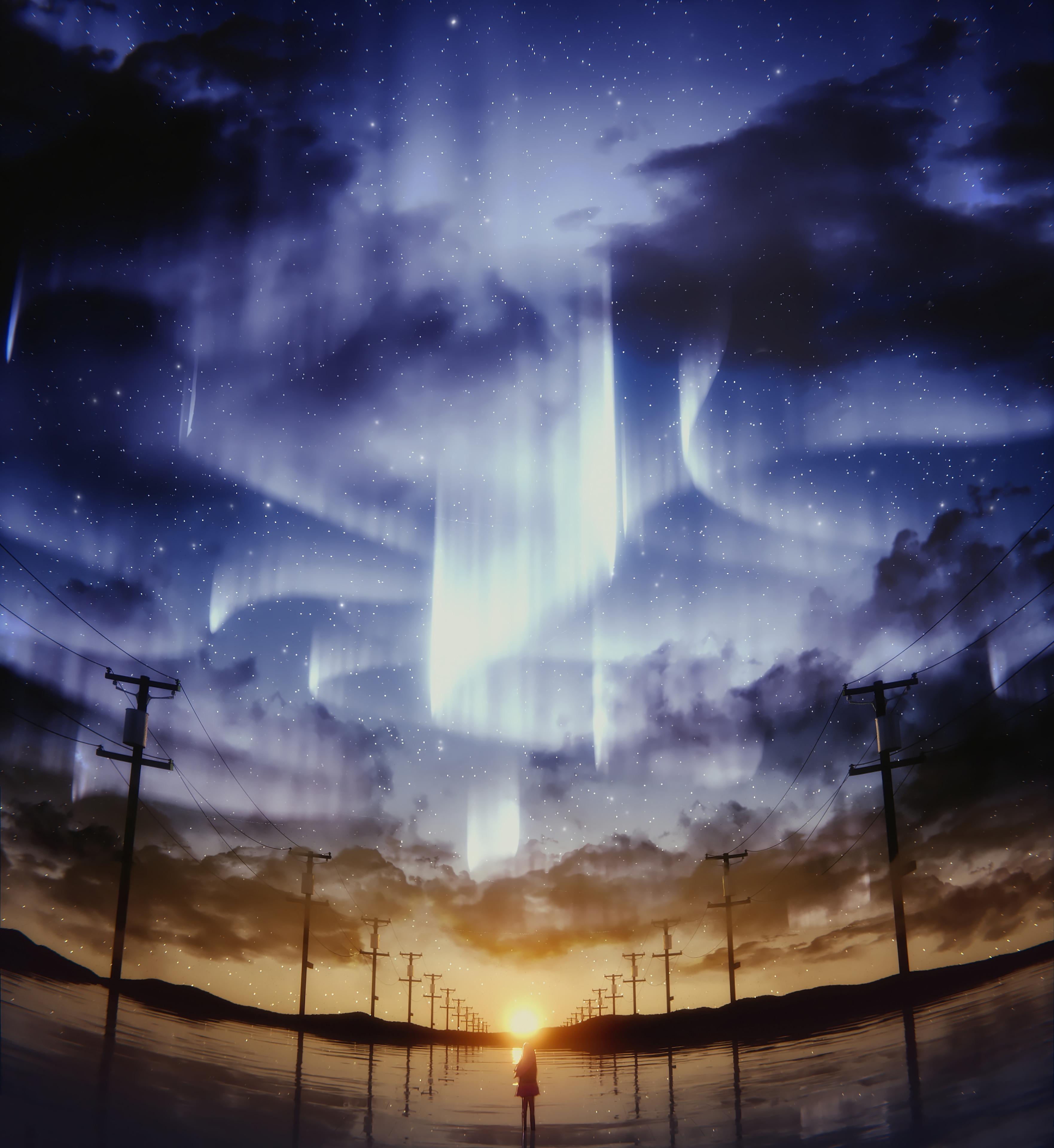 58061 скачать обои Аниме, Силуэт, Звездное Небо, Столбы, Горизонт, Небо, Арт - заставки и картинки бесплатно