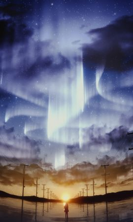 58061 download wallpaper Anime, Silhouette, Starry Sky, Pillars, Posts, Horizon, Sky, Art screensavers and pictures for free