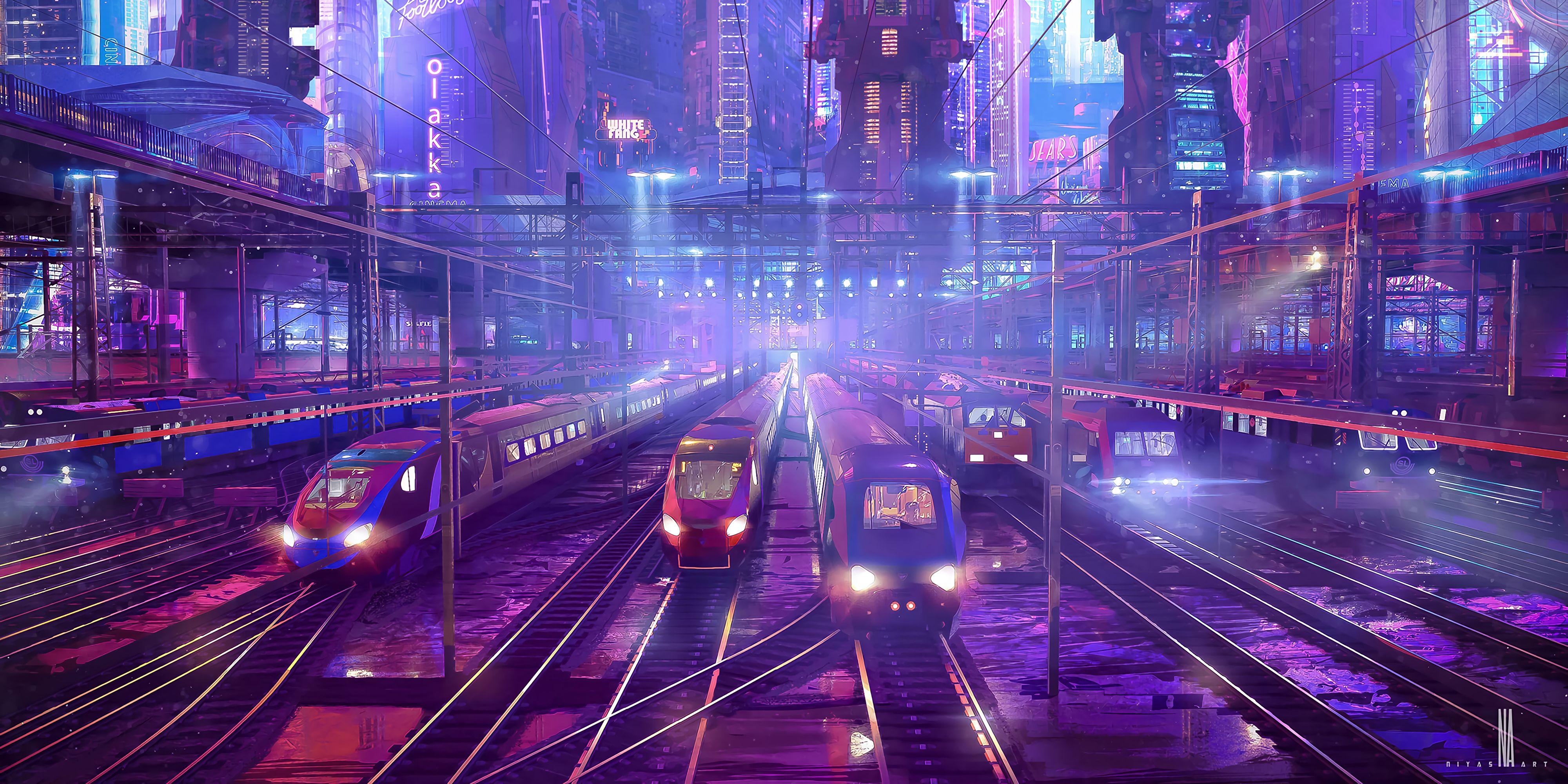 149793 скачать обои Поезда, Железная Дорога, Станция, Арт, Киберпанк - заставки и картинки бесплатно
