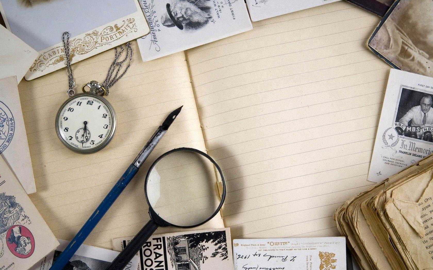 65014 скачать обои Разное, Винтаж, Лупа, Тетрадь, Книга, Часы, Открытки - заставки и картинки бесплатно