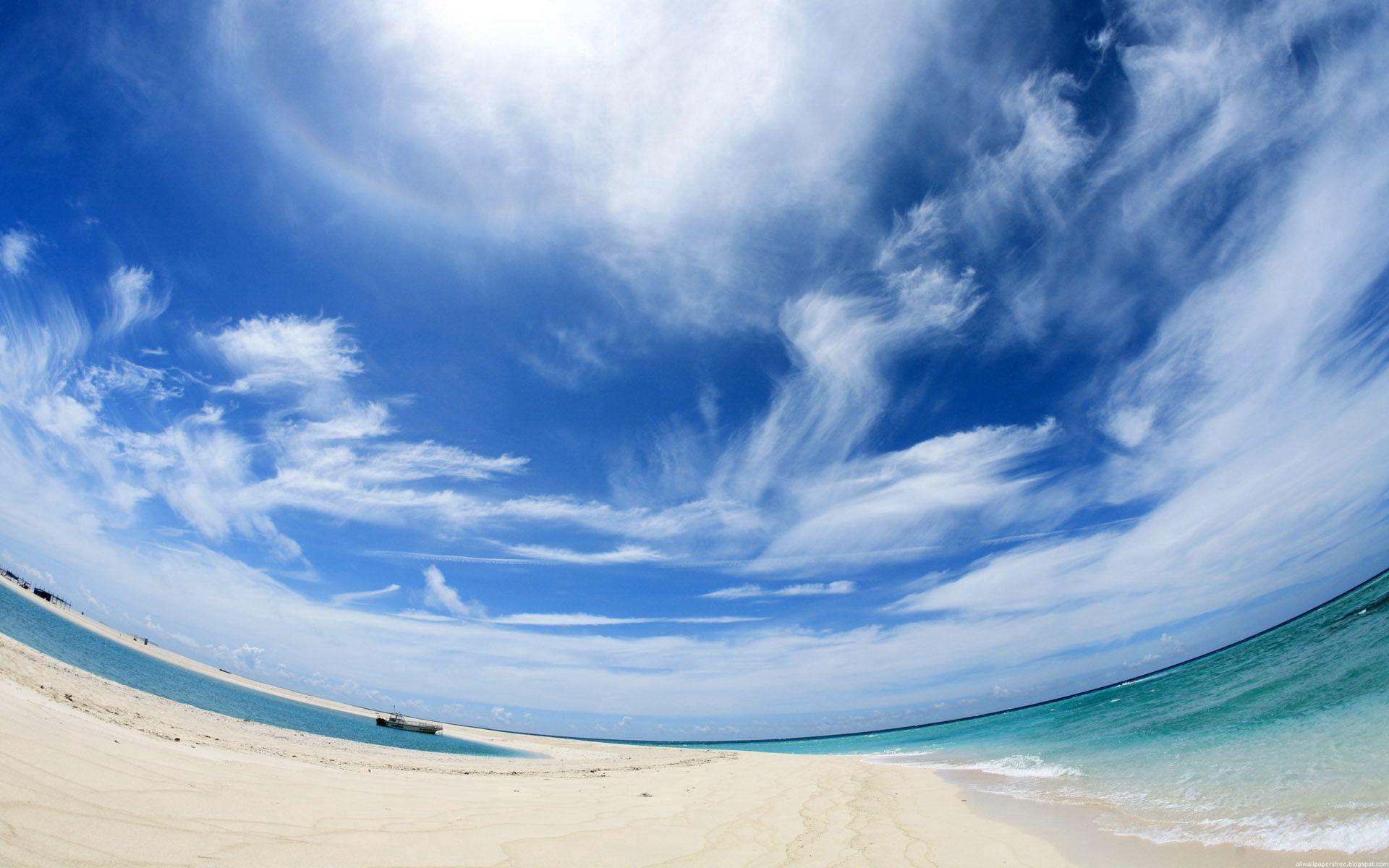 80236 скачать обои Природа, Небо, Облака, Пляж, Залив, Корабль, Угол Обзора, Обман Зрения - заставки и картинки бесплатно