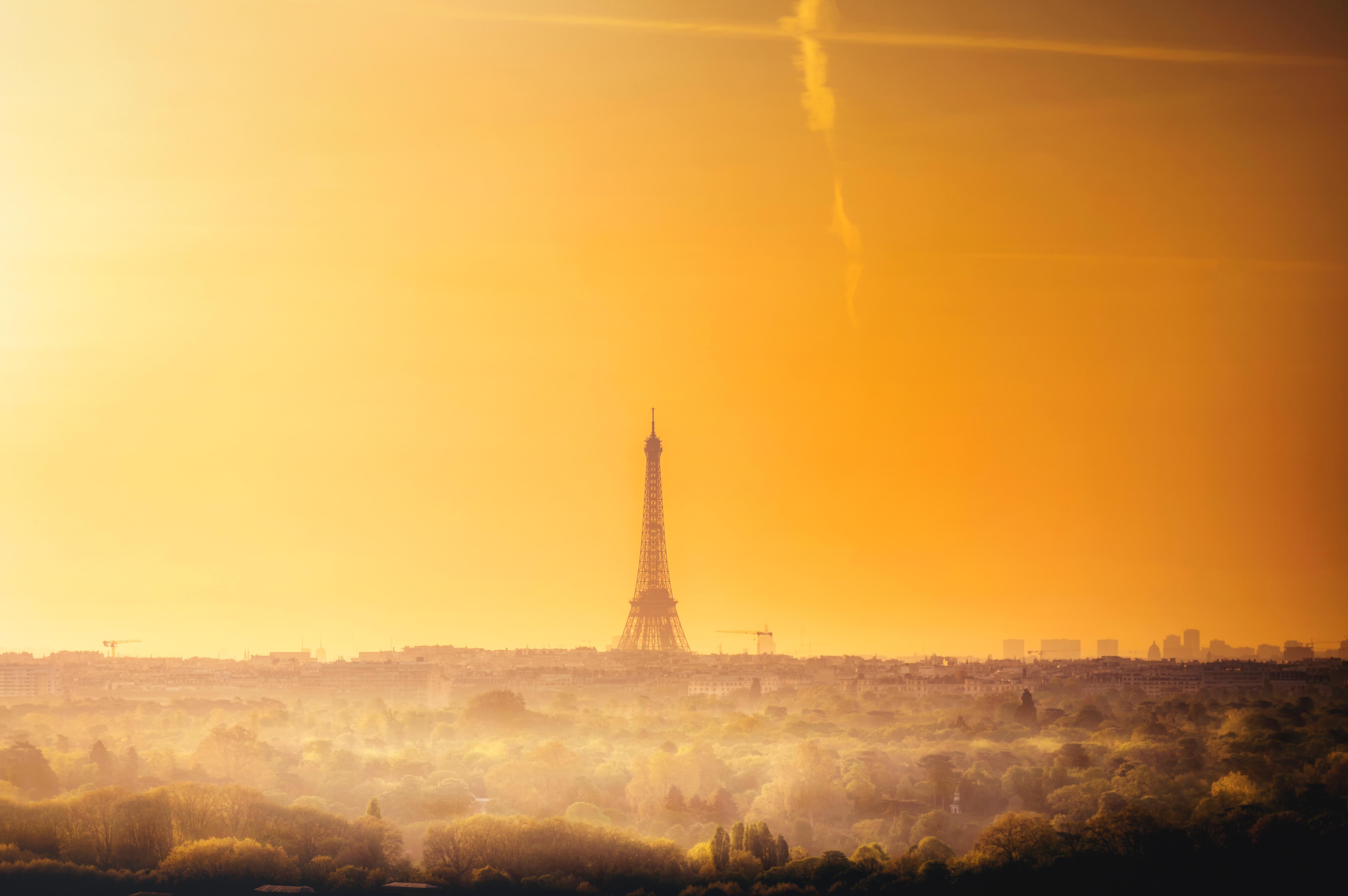 93870 télécharger le fond d'écran Aube, Horizon, Paris, France, Villes, Tour Eiffel - économiseurs d'écran et images gratuitement