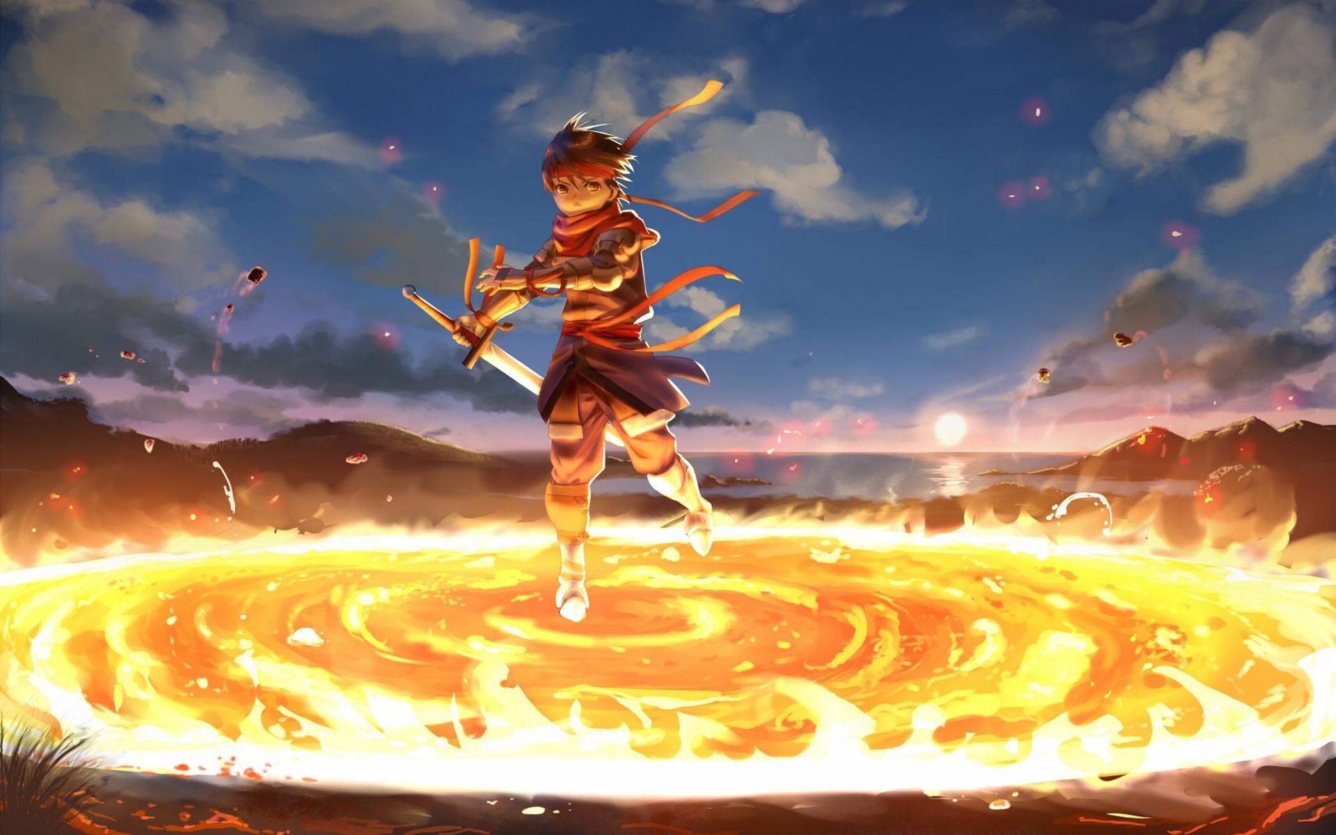 28363 descargar fondo de pantalla Anime, Fuego, Hombres: protectores de pantalla e imágenes gratis