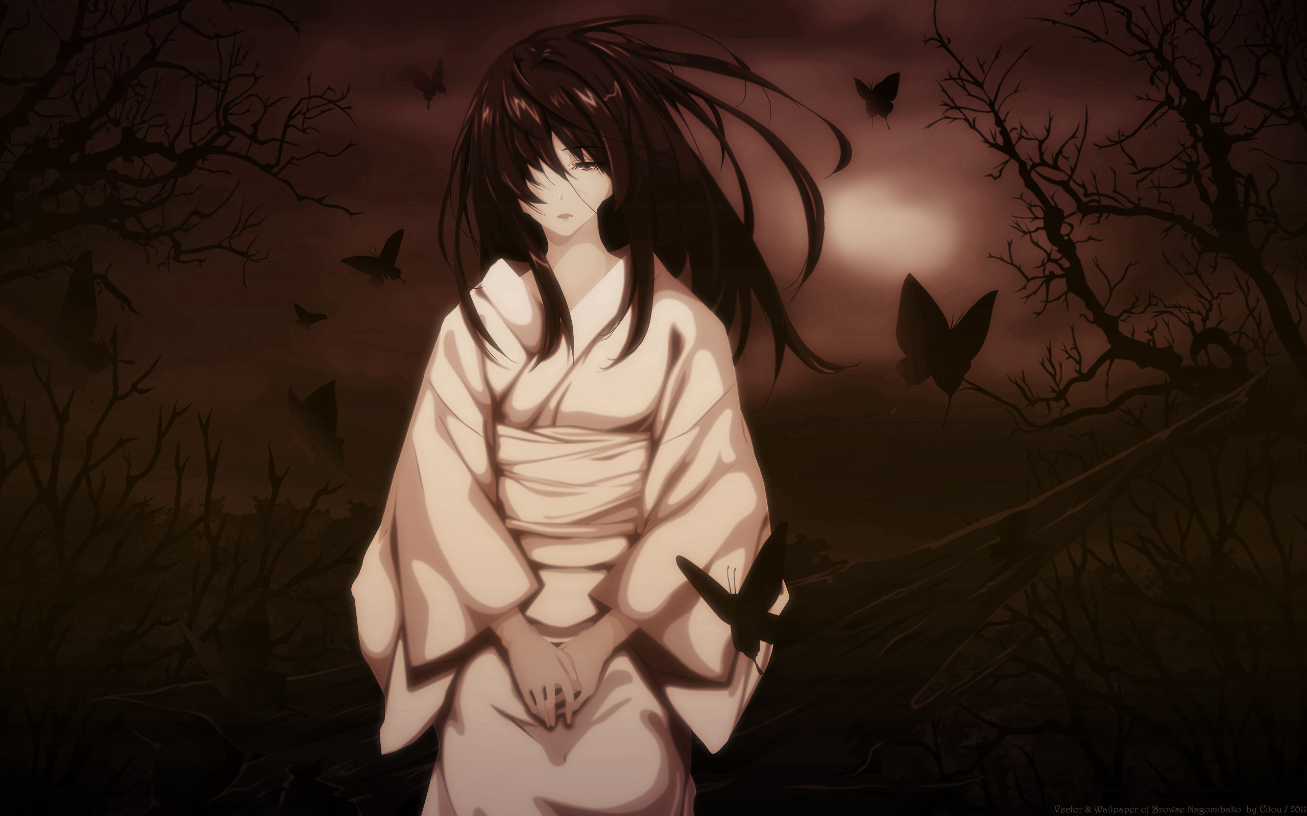 112590 Screensavers and Wallpapers Brunette for phone. Download Anime, Butterflies, Night, Sadness, Girl, Kimono, Sorrow, Brunette, Wind pictures for free