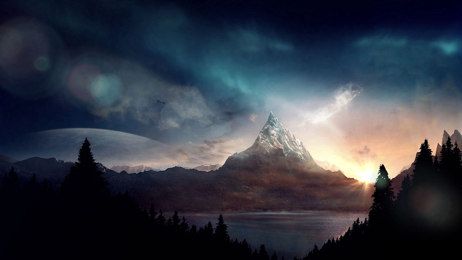 136847 Screensavers and Wallpapers Fiction for phone. Download Nature, Art, Mountain, Peak, Fiction, That's Incredible pictures for free