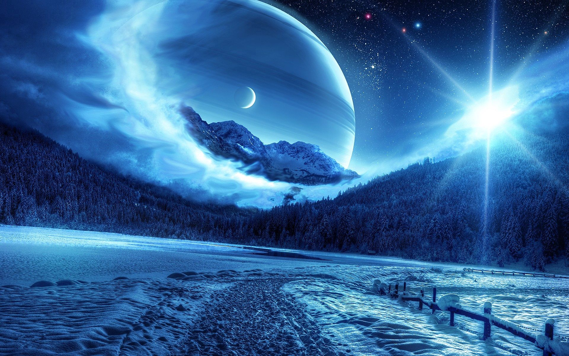 112101 скачать обои Природа, Ночь, Зима, Планеты, Горы, Фантастический Пейзаж, Дорога - заставки и картинки бесплатно