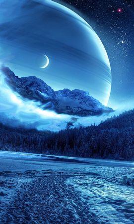 112101 Protetores de tela e papéis de parede Planetas em seu telefone. Baixe Natureza, Inverno, Noite, Estrada, Caminho, Paisagem Fantástica, Montanhas, Planetas fotos gratuitamente