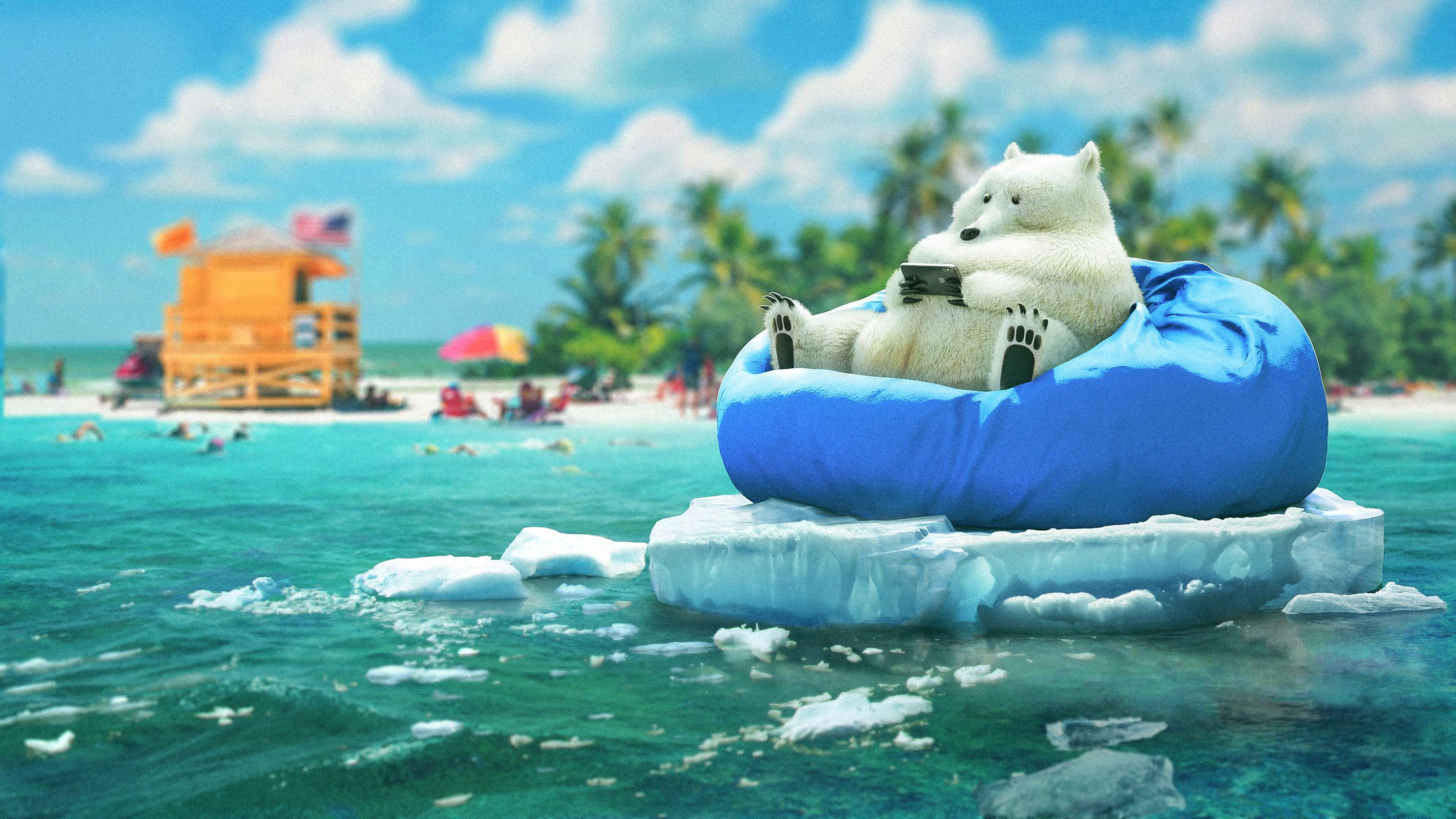 144057 скачать обои Разное, Медведь, Телефон, Прикольный, Лед, Пляж - заставки и картинки бесплатно