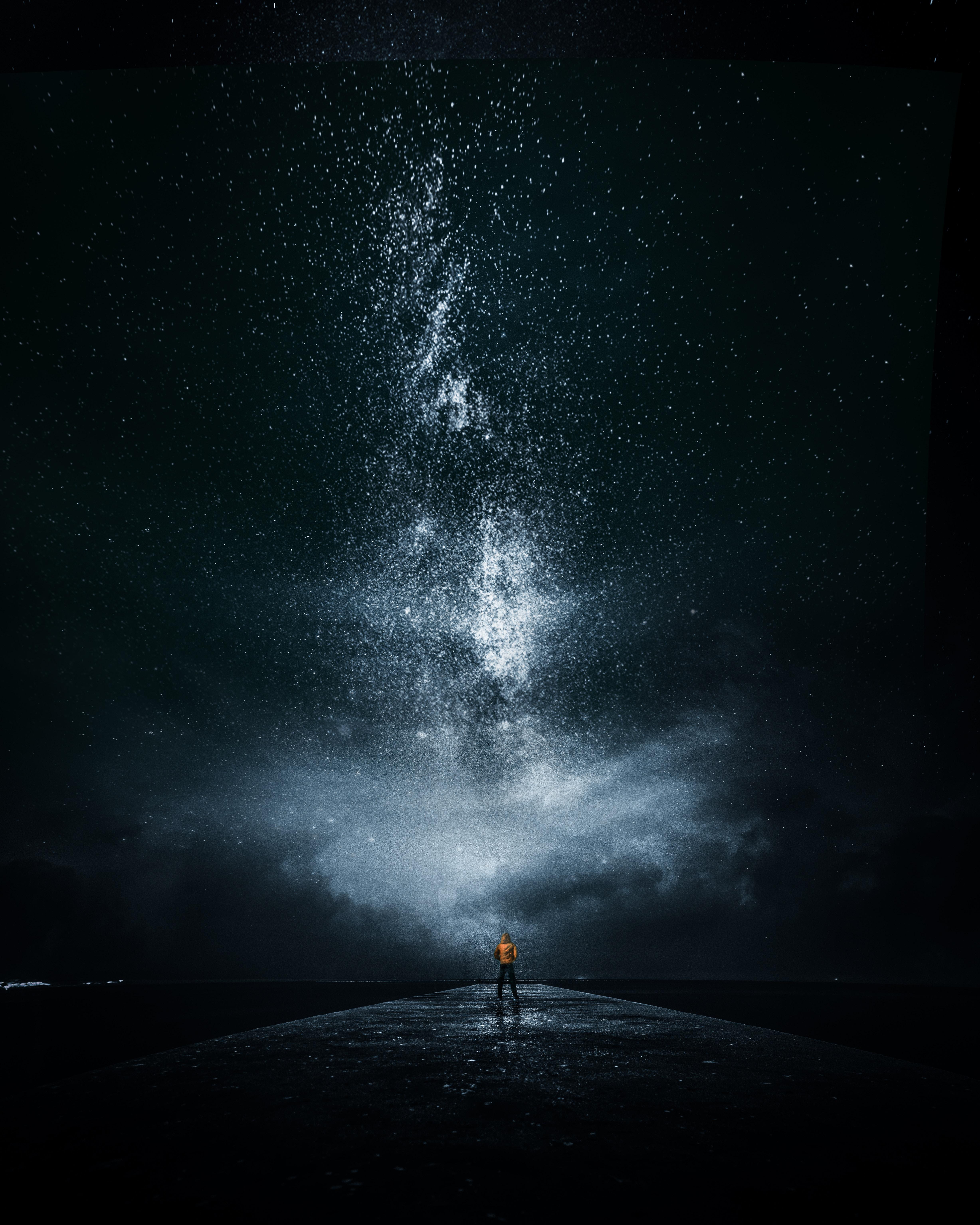 99653壁紙のダウンロード闇, 暗い, 夜空, 人間, 人, 天の川, スター-スクリーンセーバーと写真を無料で