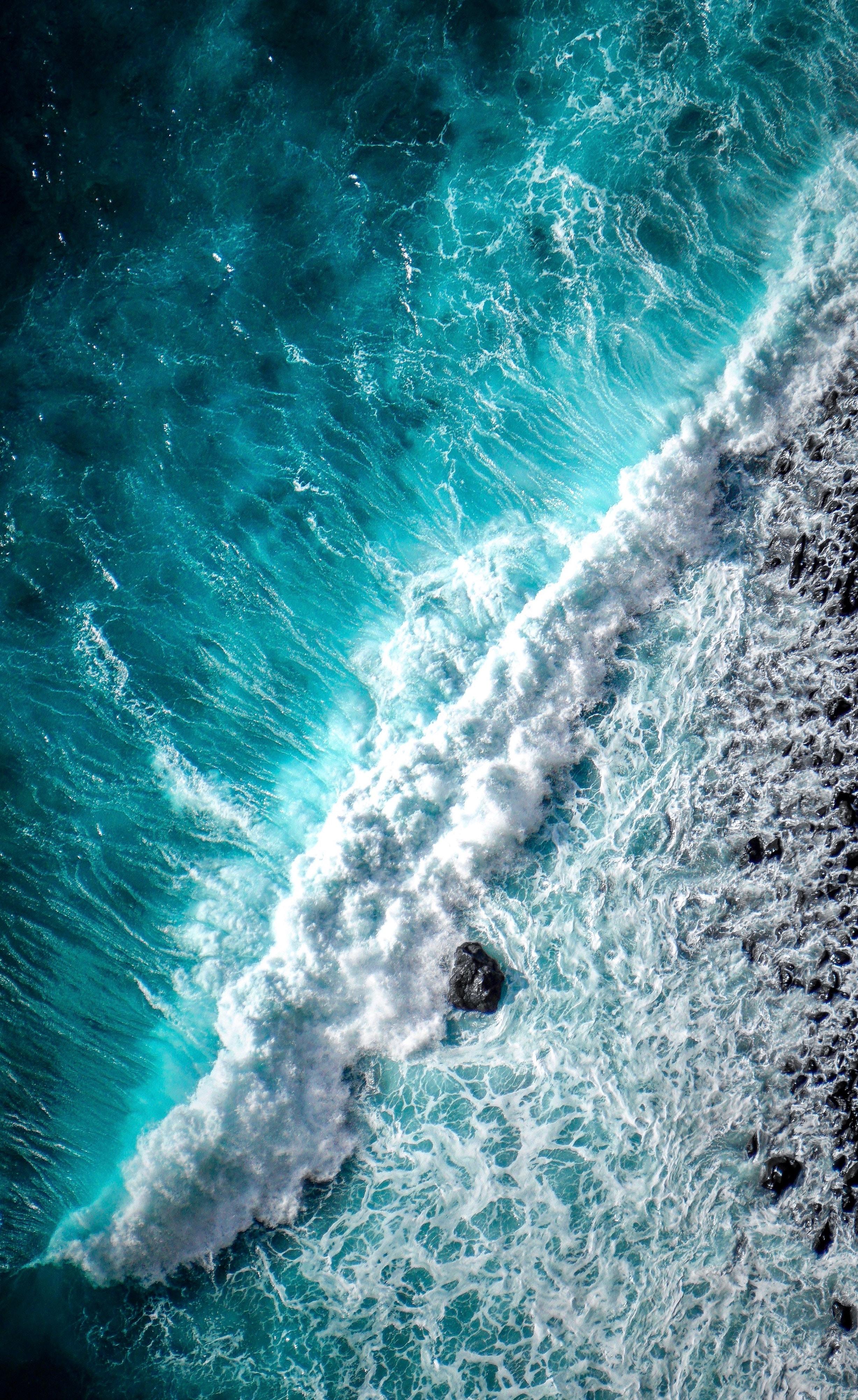 51799 免費下載壁紙 性质, 海洋, 海浪, 波浪, 泡沫, 佩纳, 冲浪, 普里博亚, 从上面看, 顶视图, 水 屏保和圖片