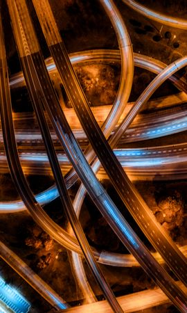 94392 Screensavers and Wallpapers Roads for phone. Download Miscellanea, Miscellaneous, Roads, Interchange, Denouement, View From Above, Backlight, Illumination, Confused, Intricate pictures for free